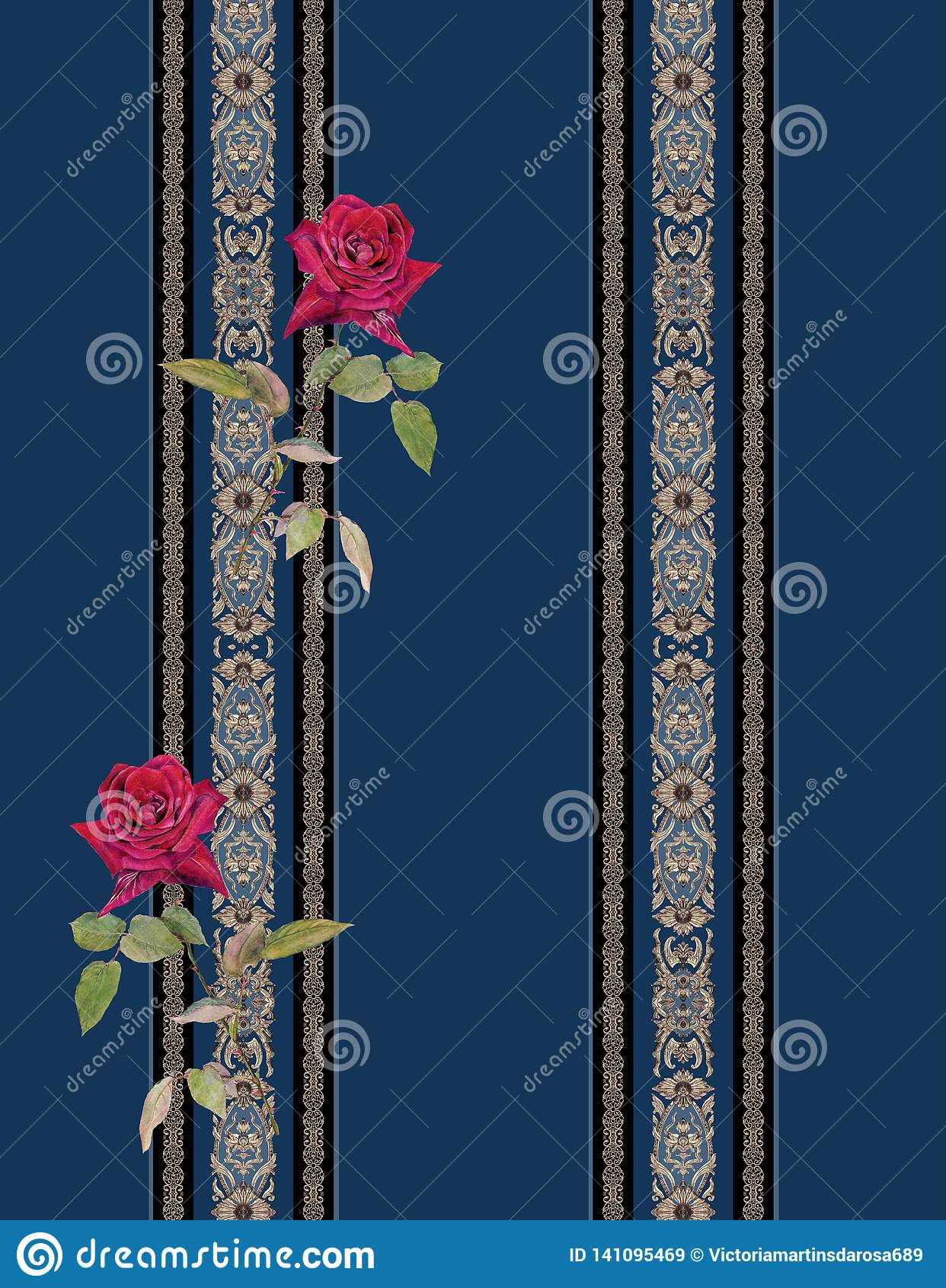Lines baroque blue flowers roses red