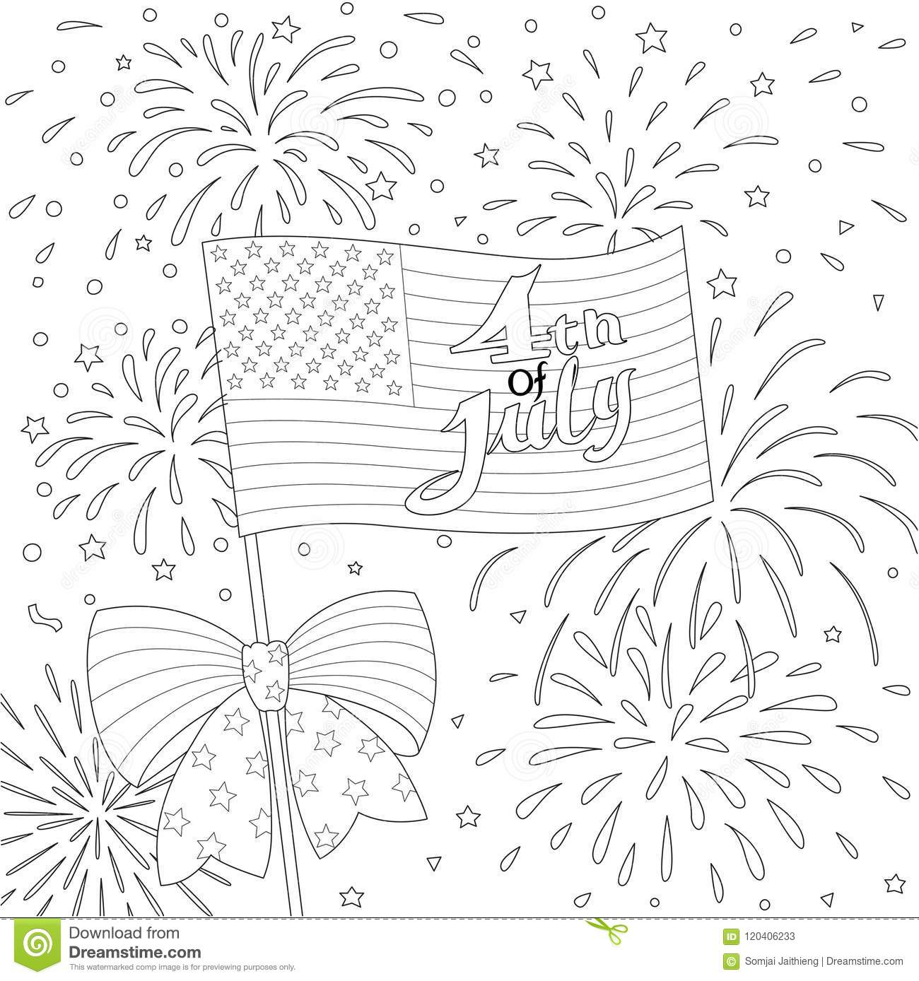 Lines Design Of American Flag With Firework, Happy 4th Of ...