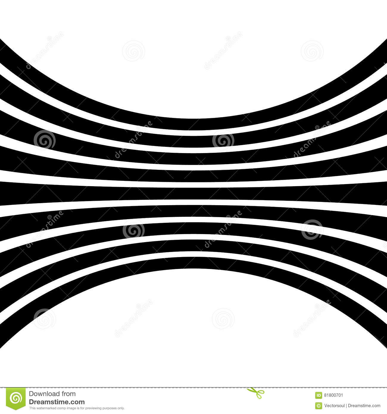 Lines with distortion effect isolated on white background. Geometric lines with deformation. Abstract monochrome element / patter