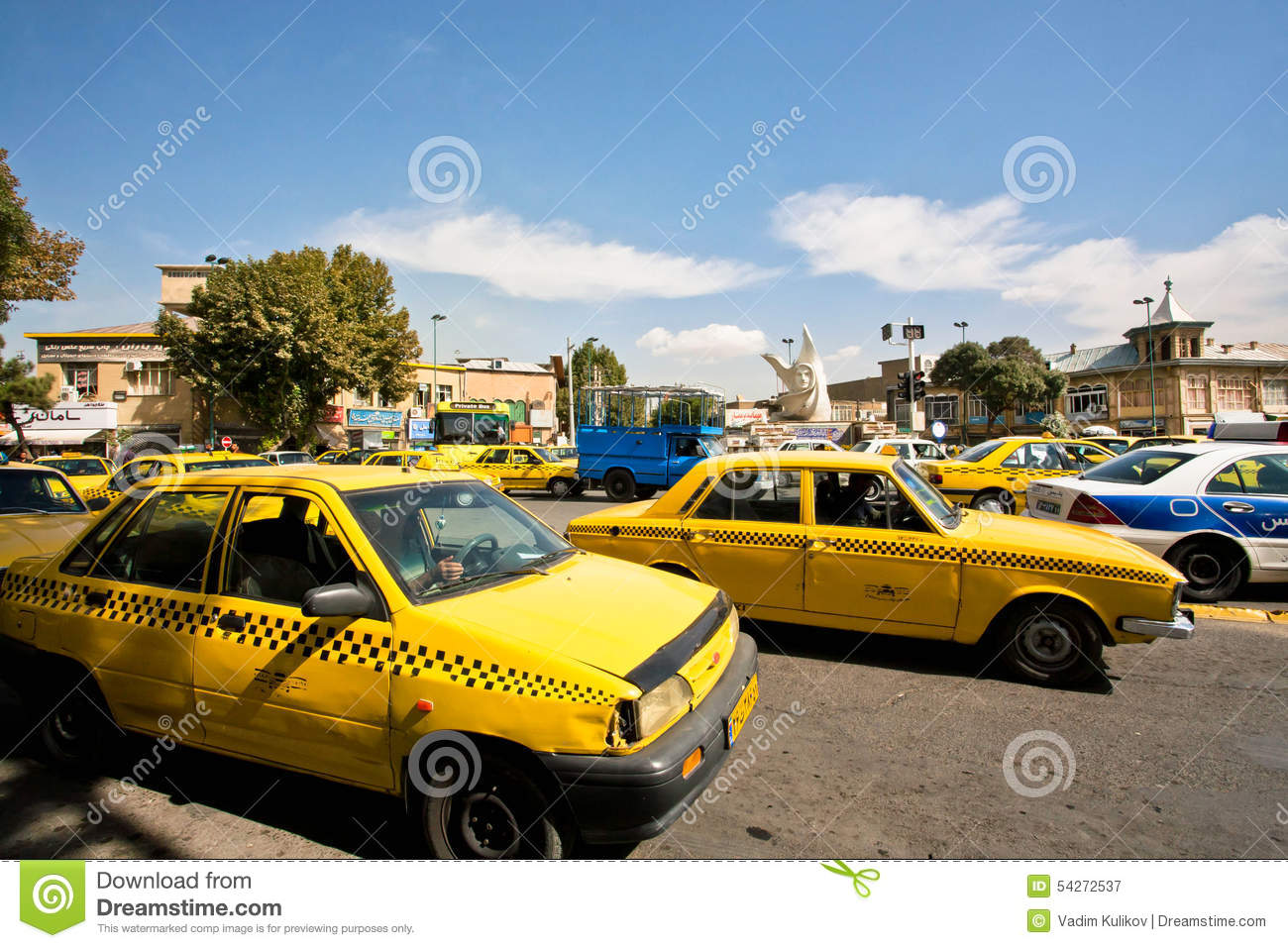 Cars colored yellow - Lines Of Taxi Cars Of Yellow Color In Middle East Editorial Photography