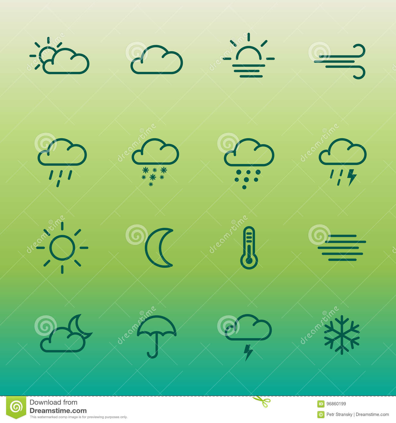 Lines Weather Forcast Icon Set On Green Gradient Stock Illustration