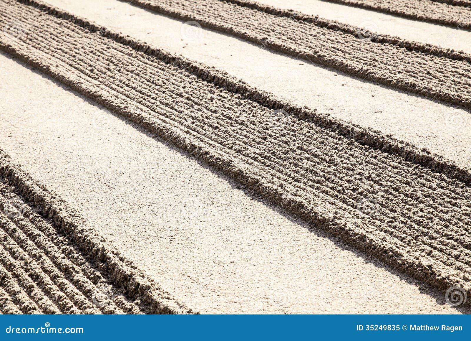 Lines In Zen Sand Garden stock image. Image of historic