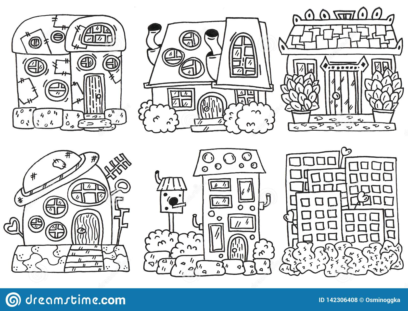 Linework das casas Grupo do desenho da mão