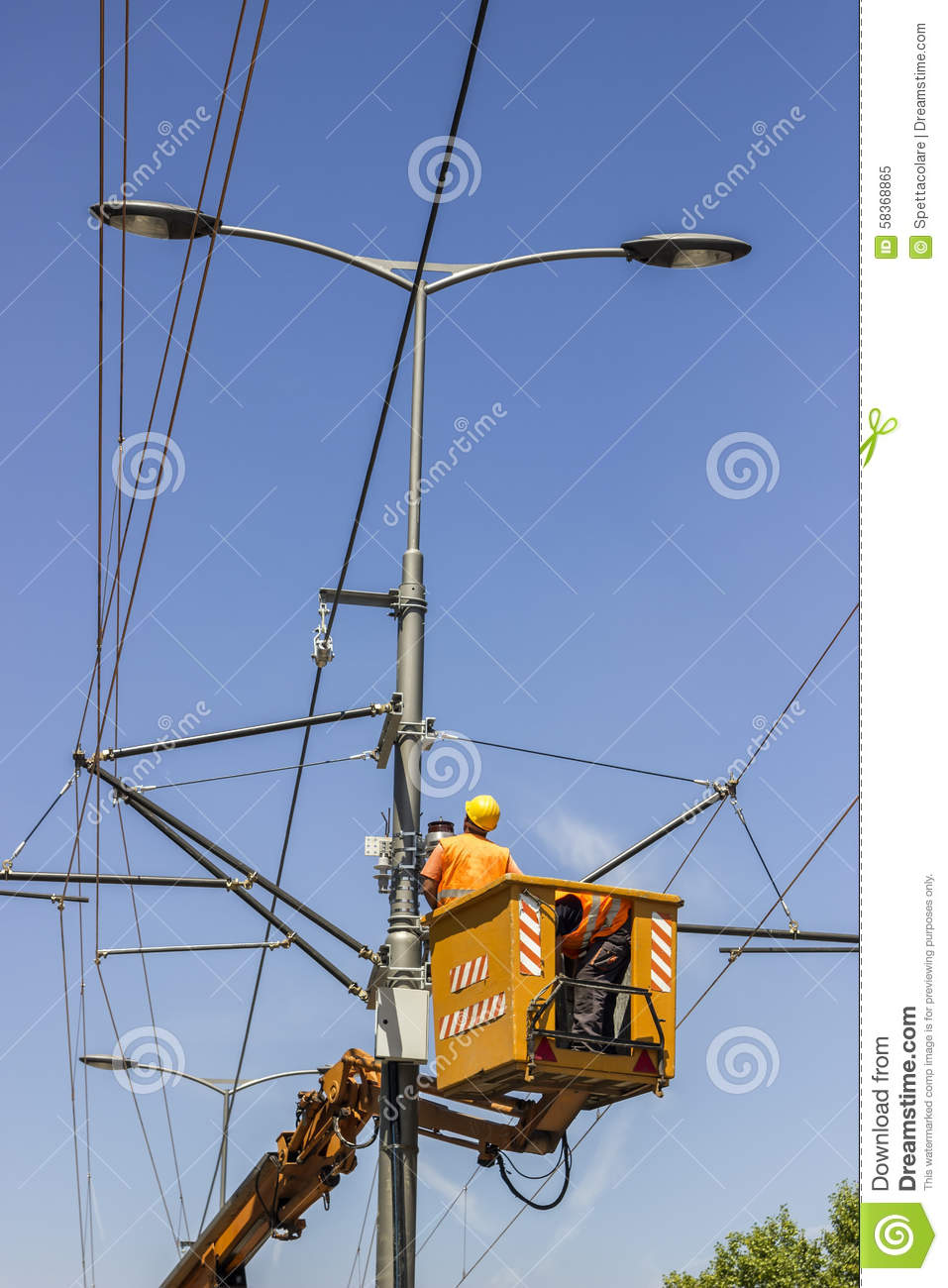 Lineworkers Work On Overhead Power Line Stock Photo Image 58368865