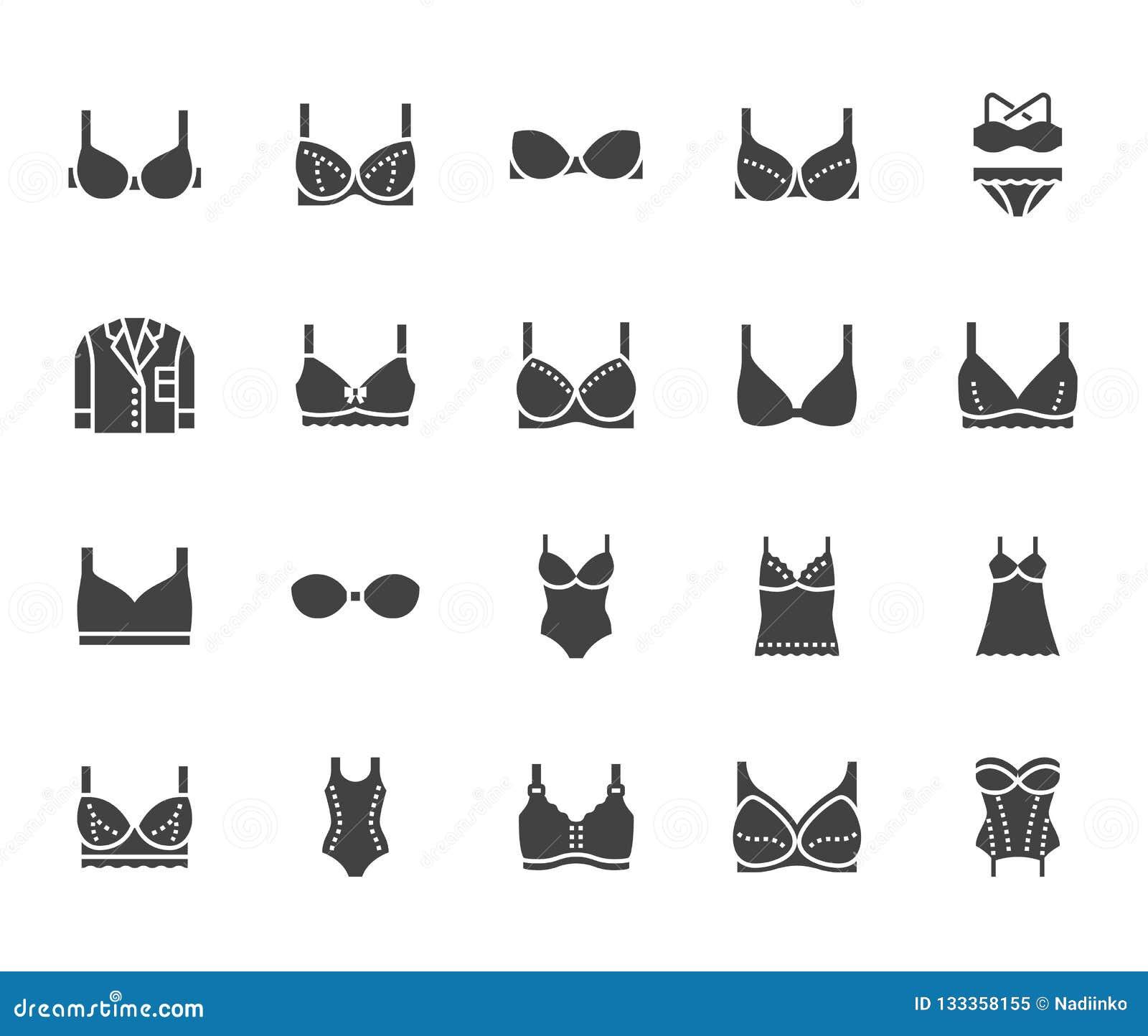 Lingerie επίπεδα εικονίδια glyph καθορισμένα Οι τύποι στηθοδέσμων, εσώρουχο γυναικών, στηθόδεσμος μητρότητας, πυτζάμες, swimwear,