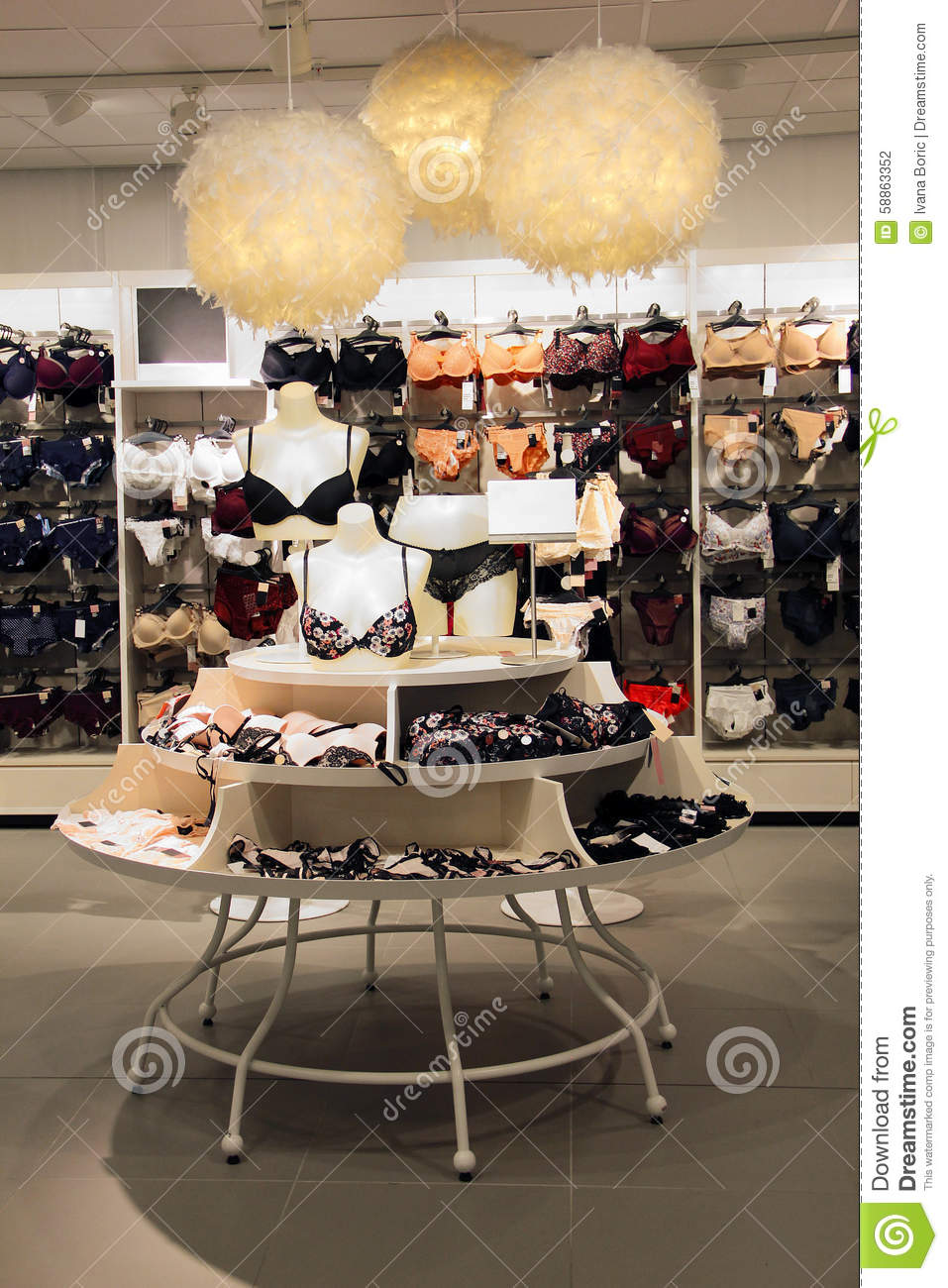 Lingerie Display In Underwear Store Department Stock Photo - Image ...
