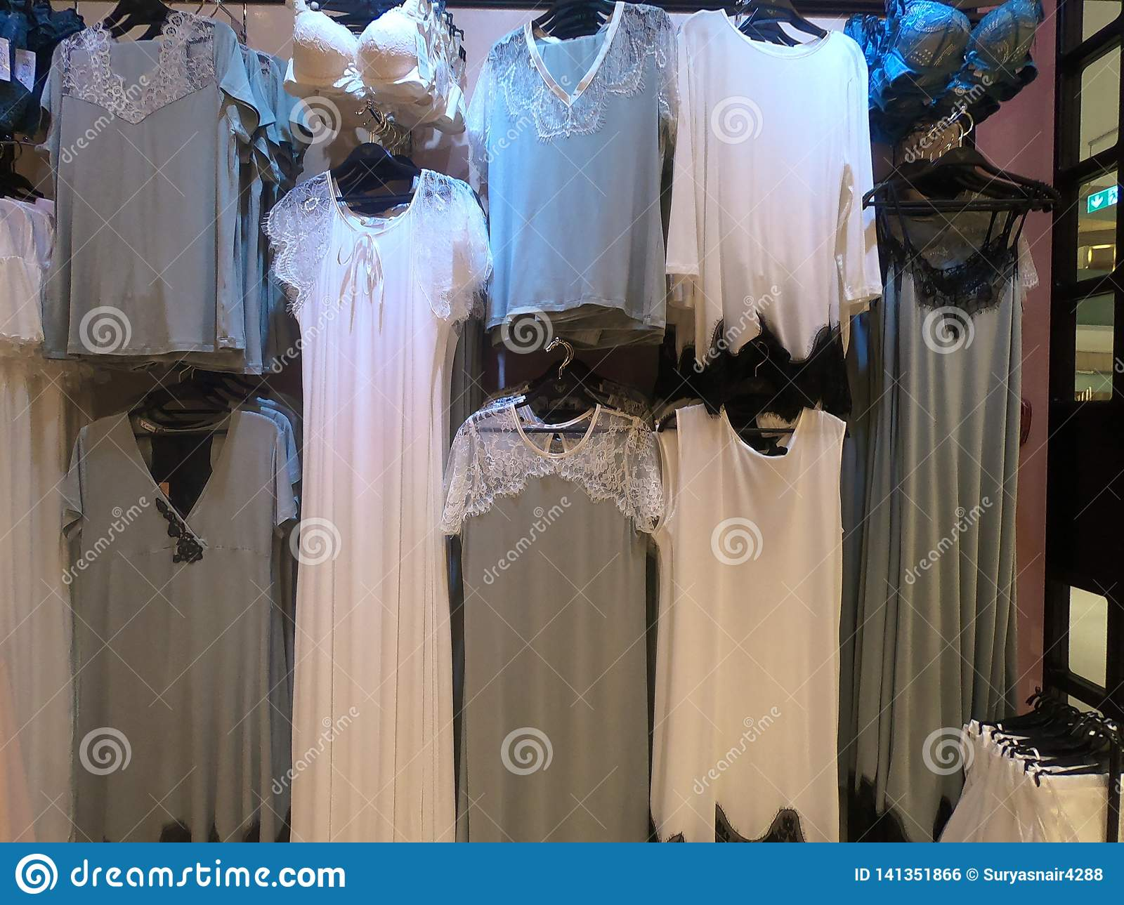 Women Lingerie Displayed on for Sale in a Boutique Store