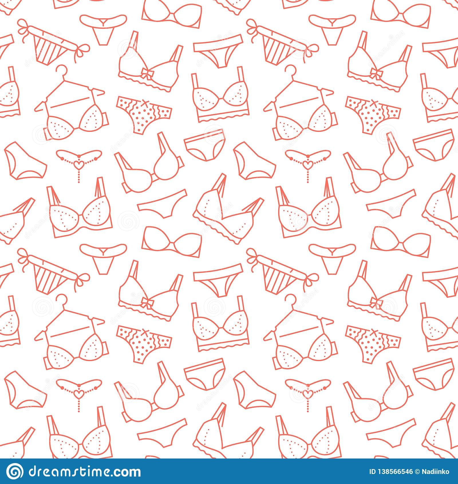494468bb7ab2 Lingerie seamless pattern with flat line icons of bra types, panties. Woman  underwear background