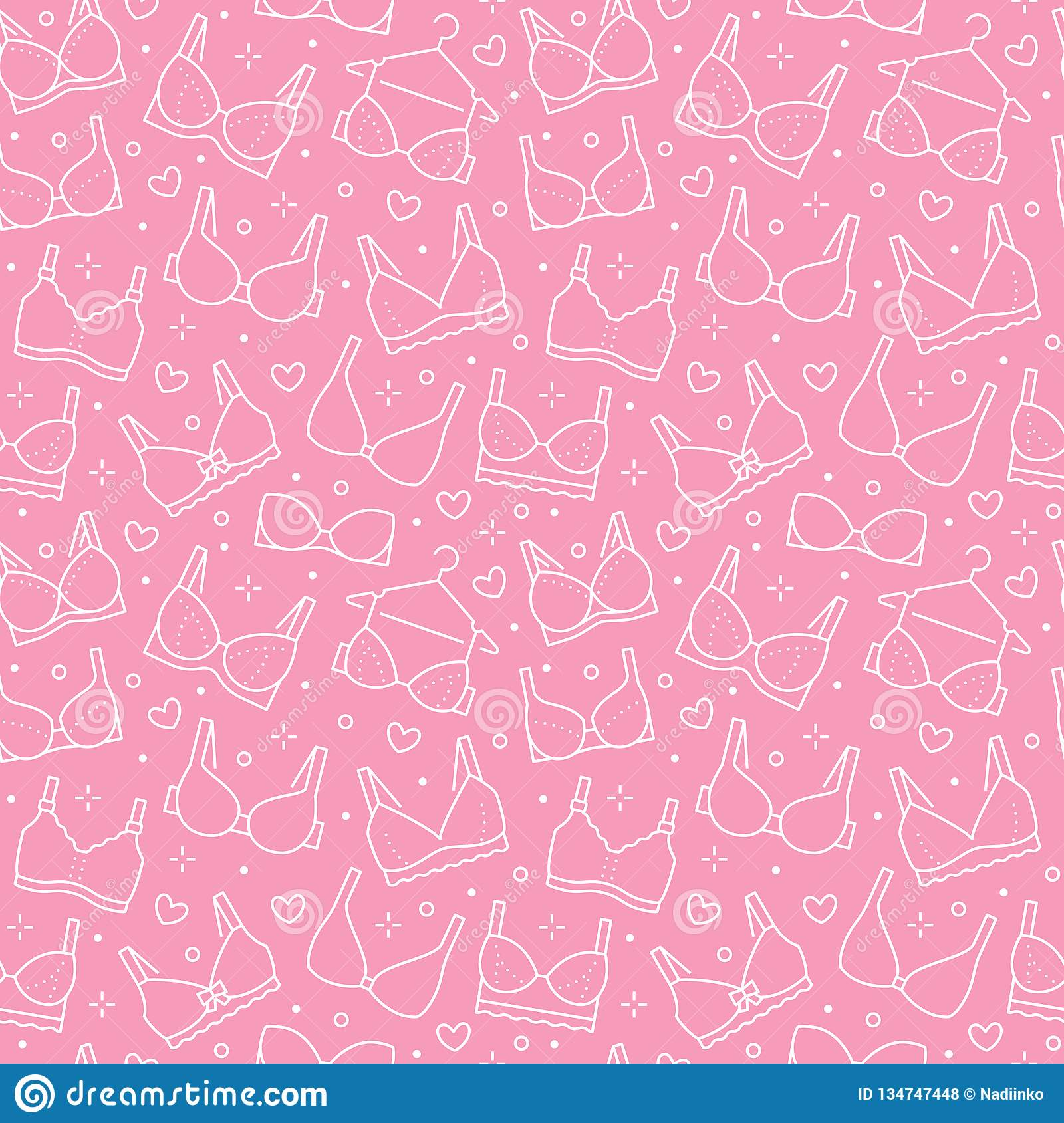 Lingerie seamless pattern with flat line icons of bra types. Woman underwear background, vector illustrations of