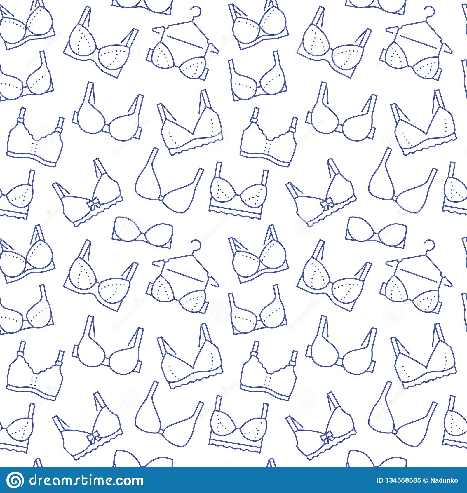 fa9557e10750 Lingerie seamless pattern with flat line icons of bra types. Woman underwear  background, vector