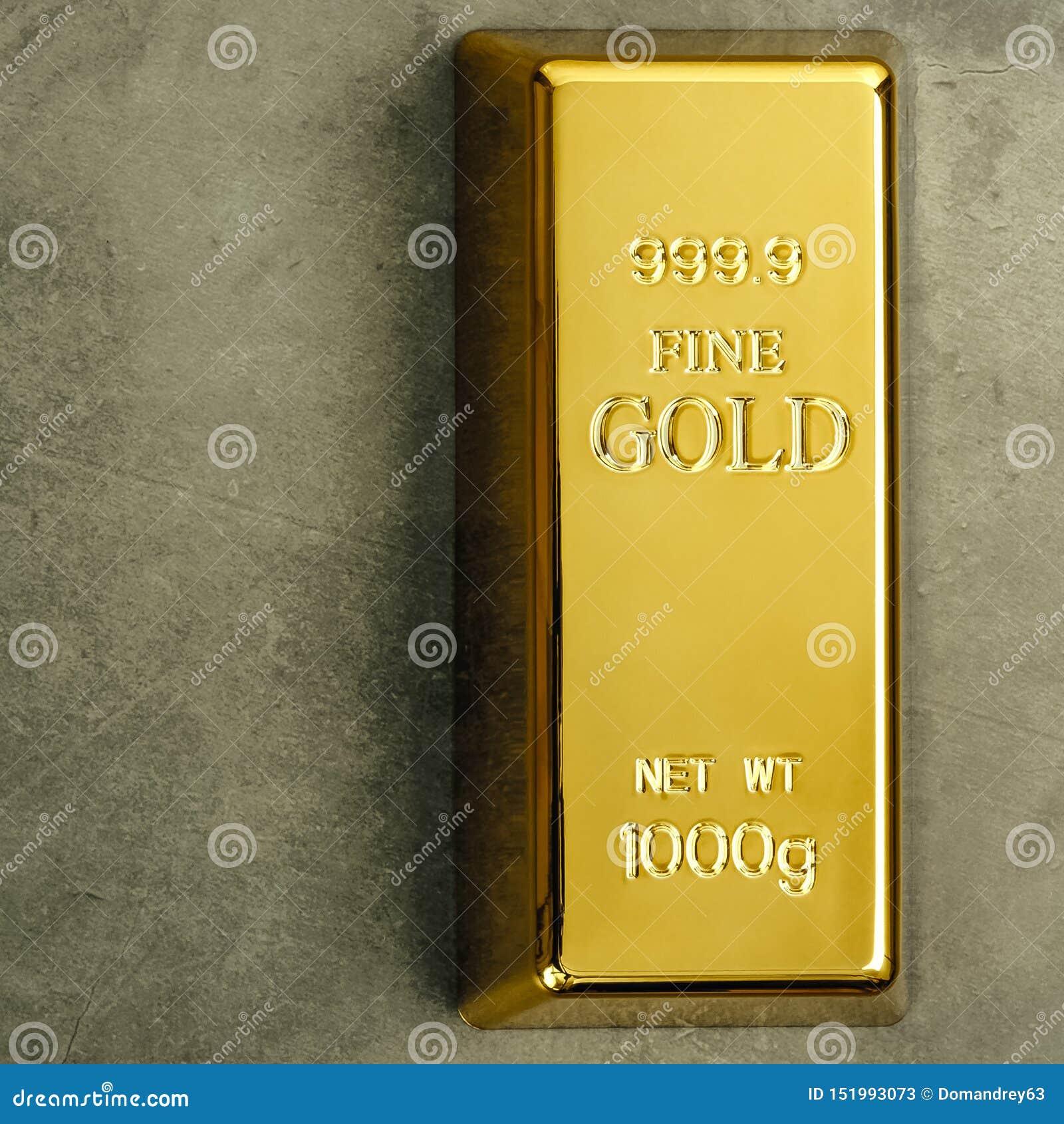 Lingote de lingote puro do metal do ouro em um fundo textured cinzento