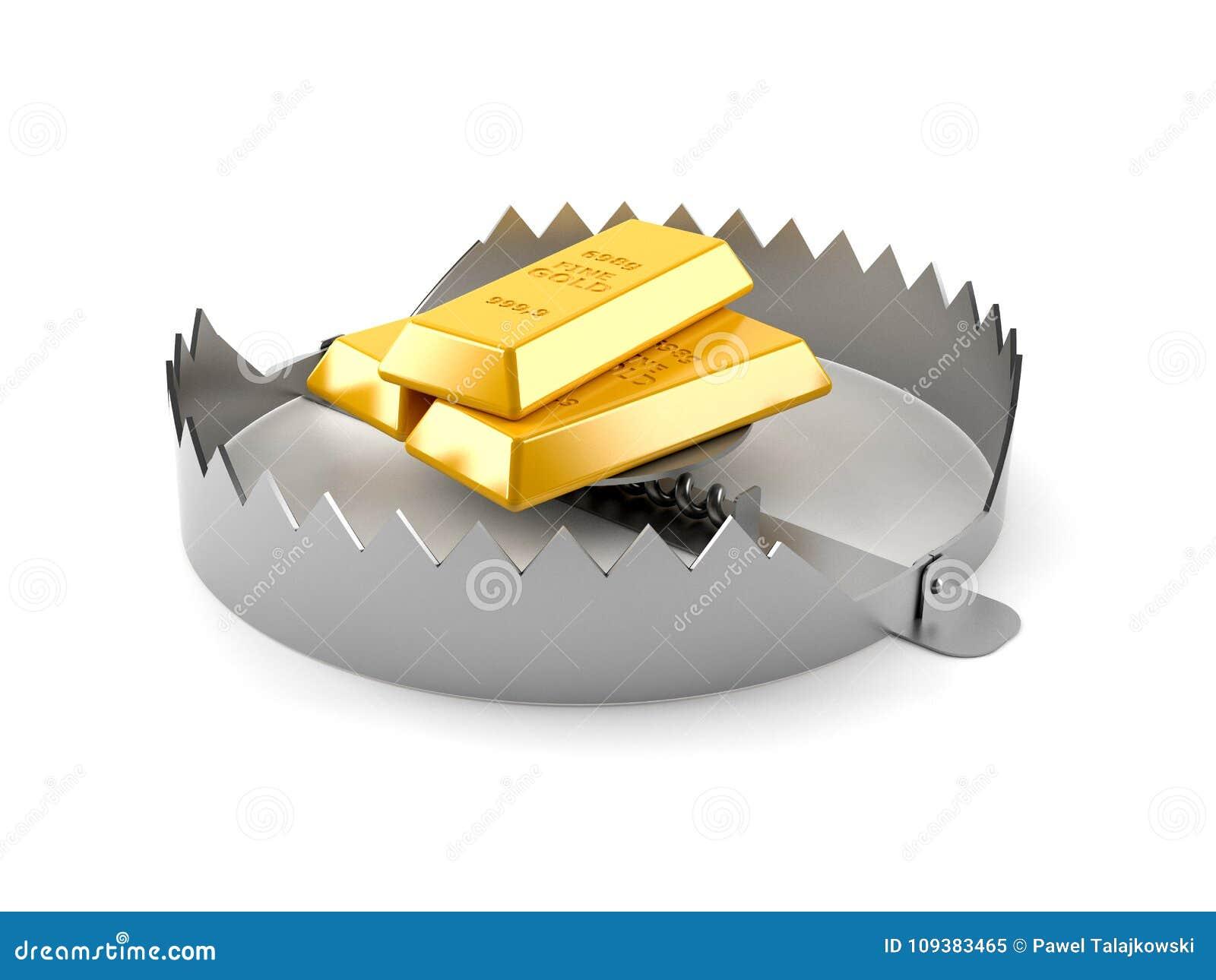 Lingotes do ouro com armadilha do urso