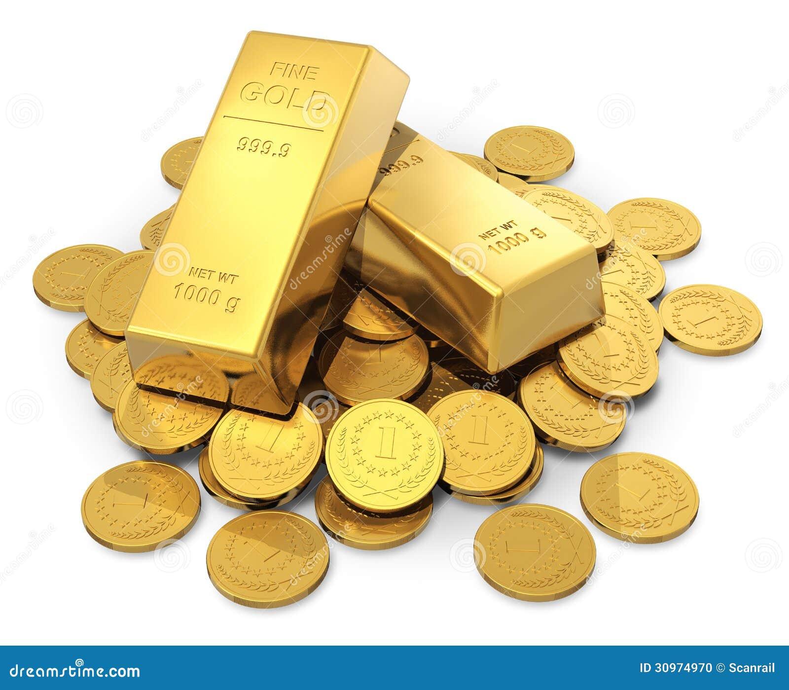 Lingotes Y Monedas Del Oro Stock De Ilustración Ilustración De Negocios 30974970