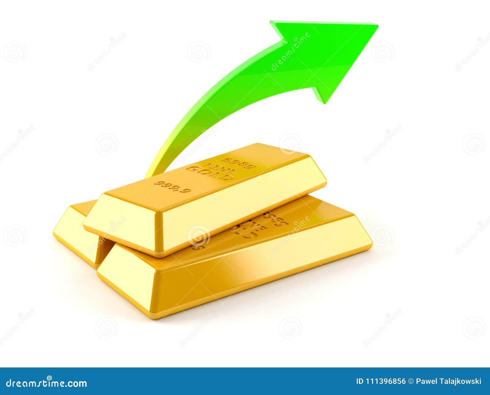 Lingots d or avec la flèche