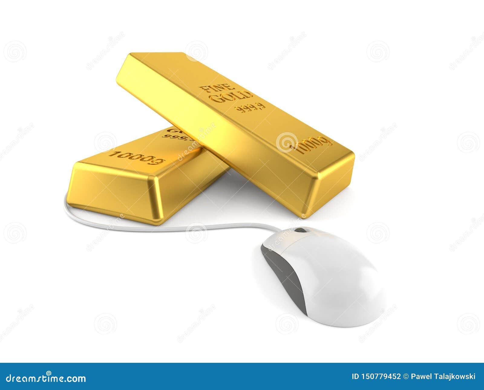 Lingots d or avec la souris d ordinateur