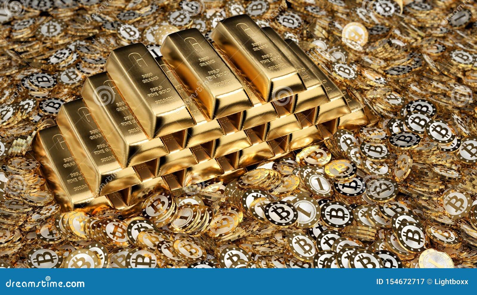 Lingots et Bitcoins d or