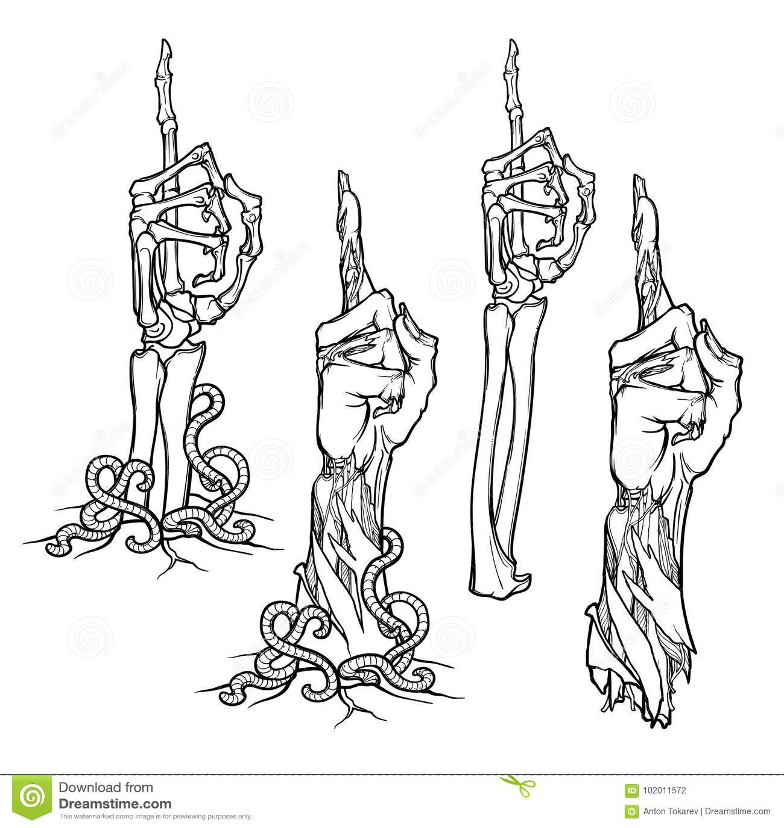 Linguagem corporal do zombi Apontando o dedo acima