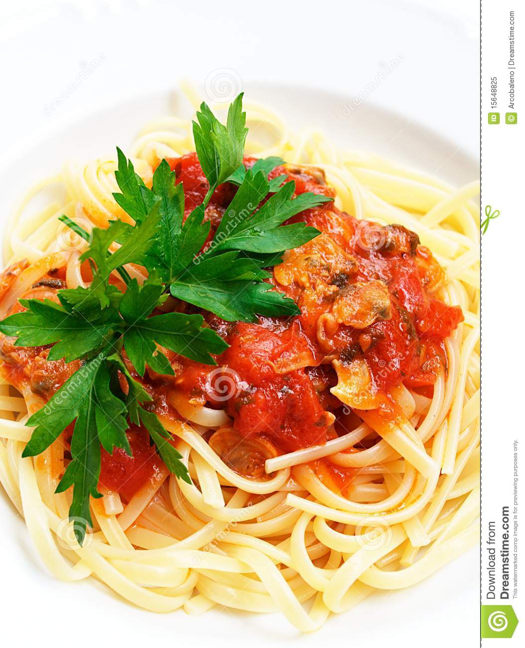 Linguine With Clams And Tomato Sauce Royalty Free Stock ...