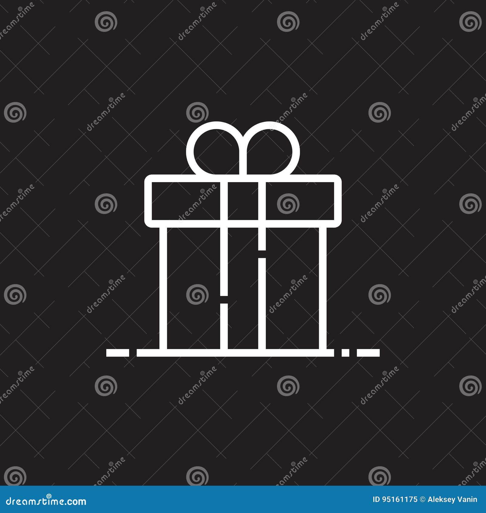 Linha ícone da caixa de presente, ilustração do logotipo do vetor do esboço, PIC linear
