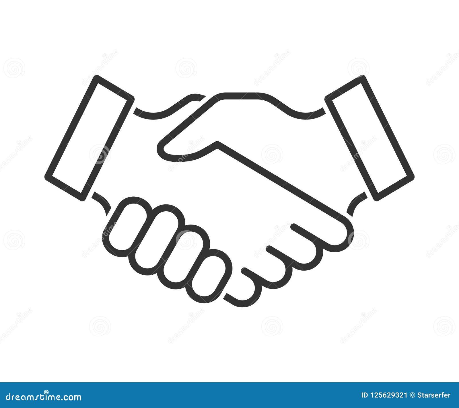 Linha ícone do aperto de mão