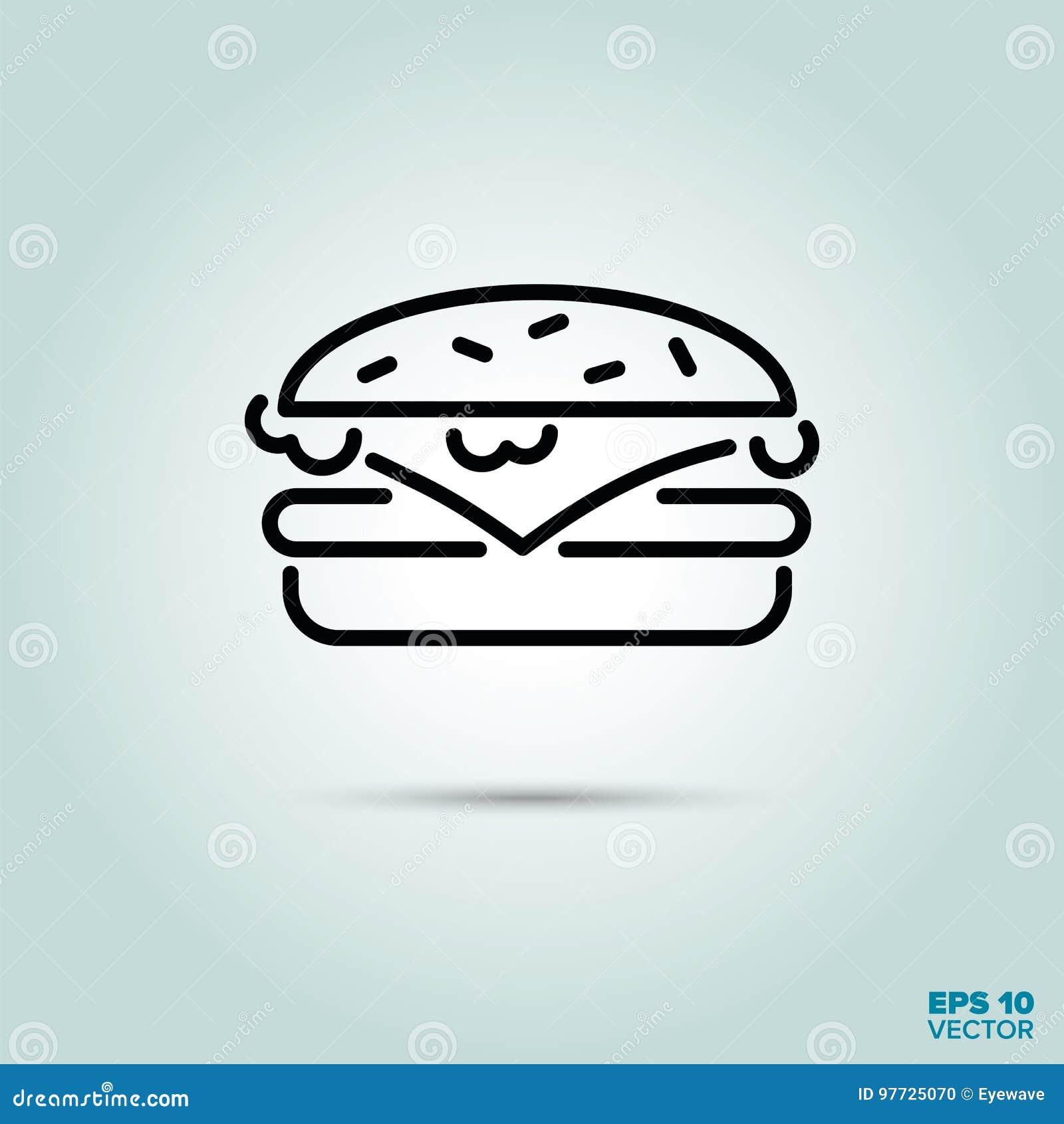 Linha ícone do cheeseburger
