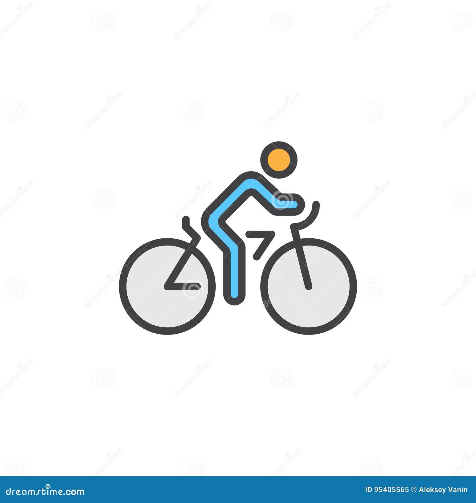 A linha ícone do ciclismo, bicicleta encheu o sinal do vetor do esboço, pictograma colorido linear isolado no branco