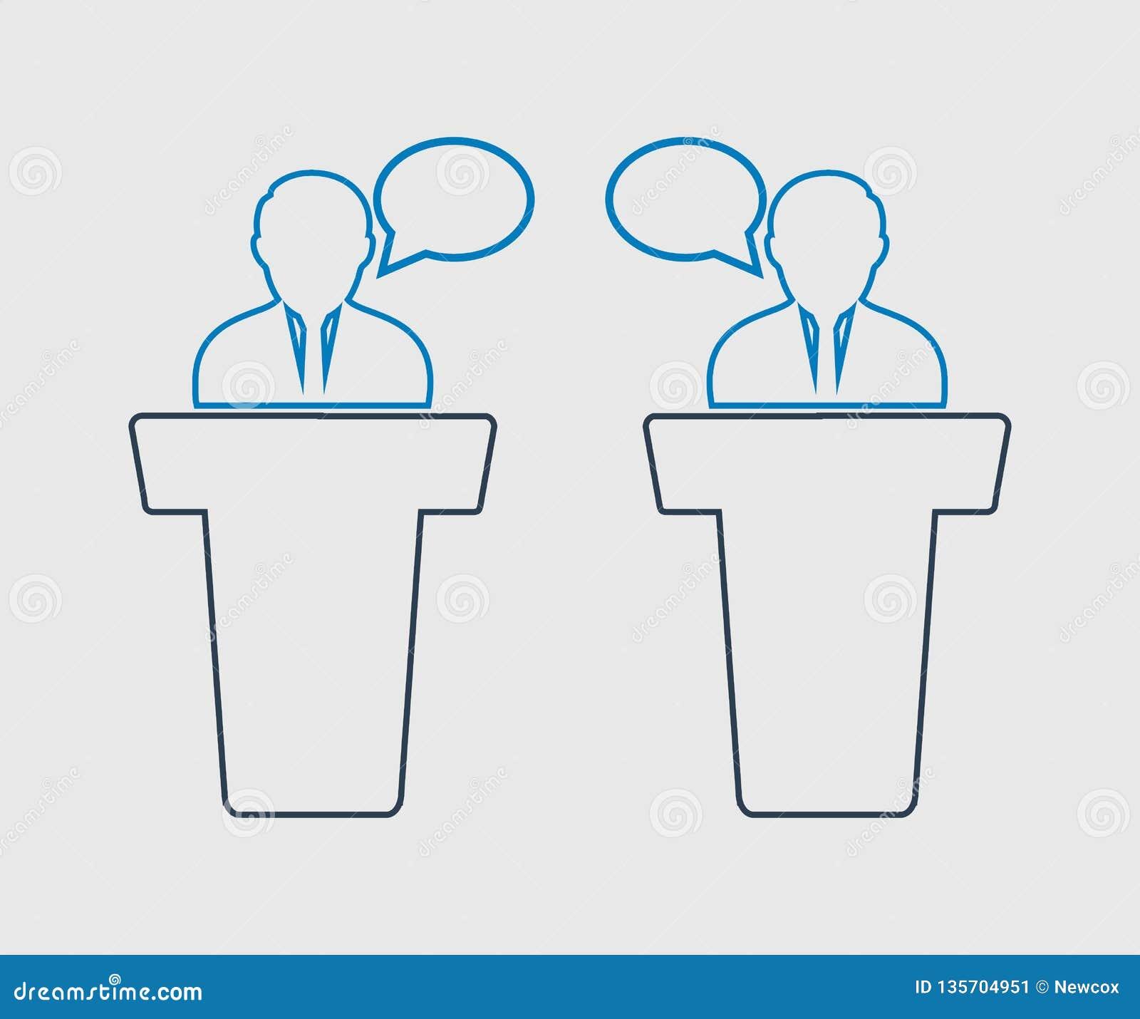 Linha ícone do debate