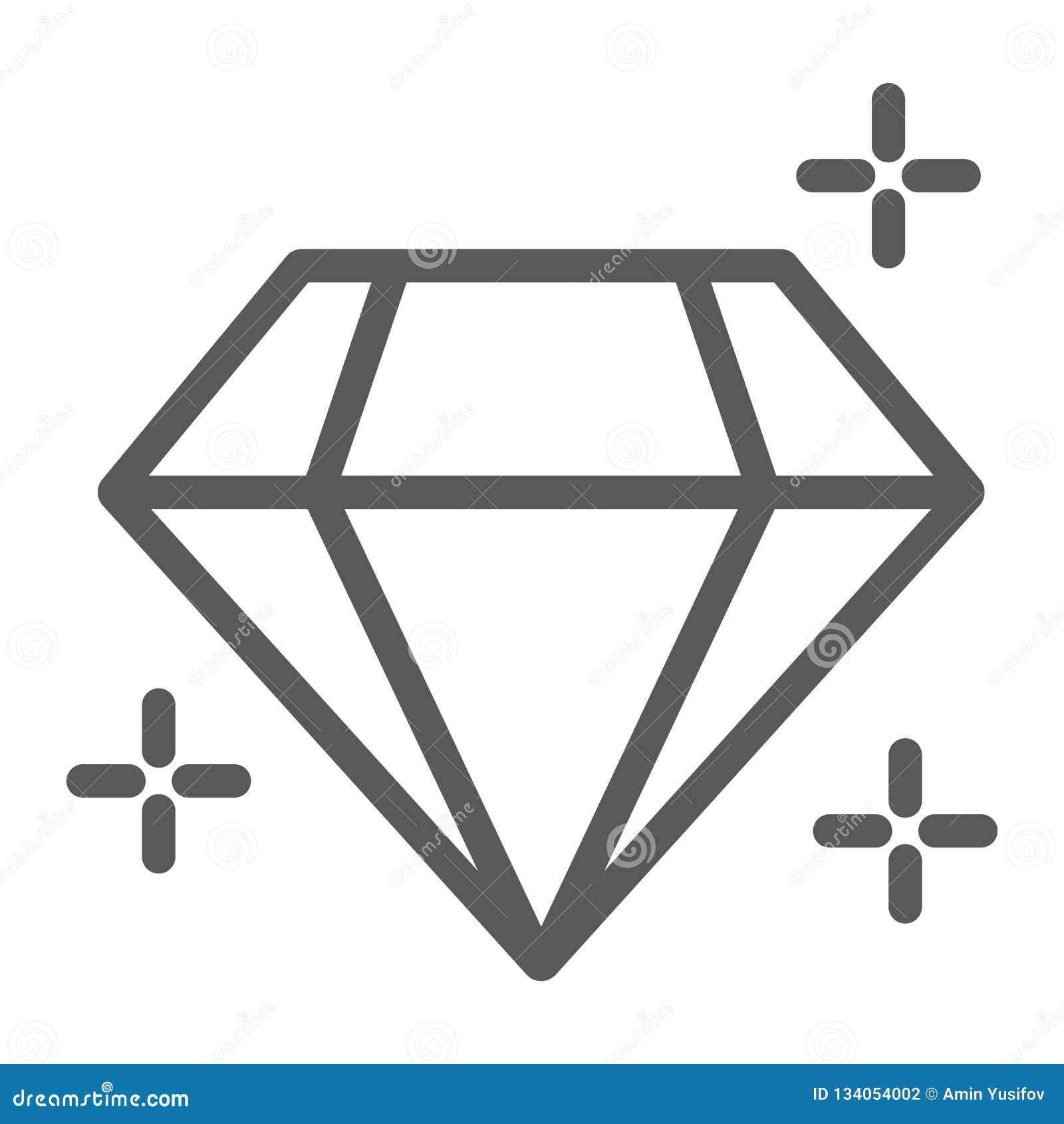 Linha ícone do diamante, joia e acessório, sinal brilhante, gráficos de vetor, um teste padrão linear em um fundo branco
