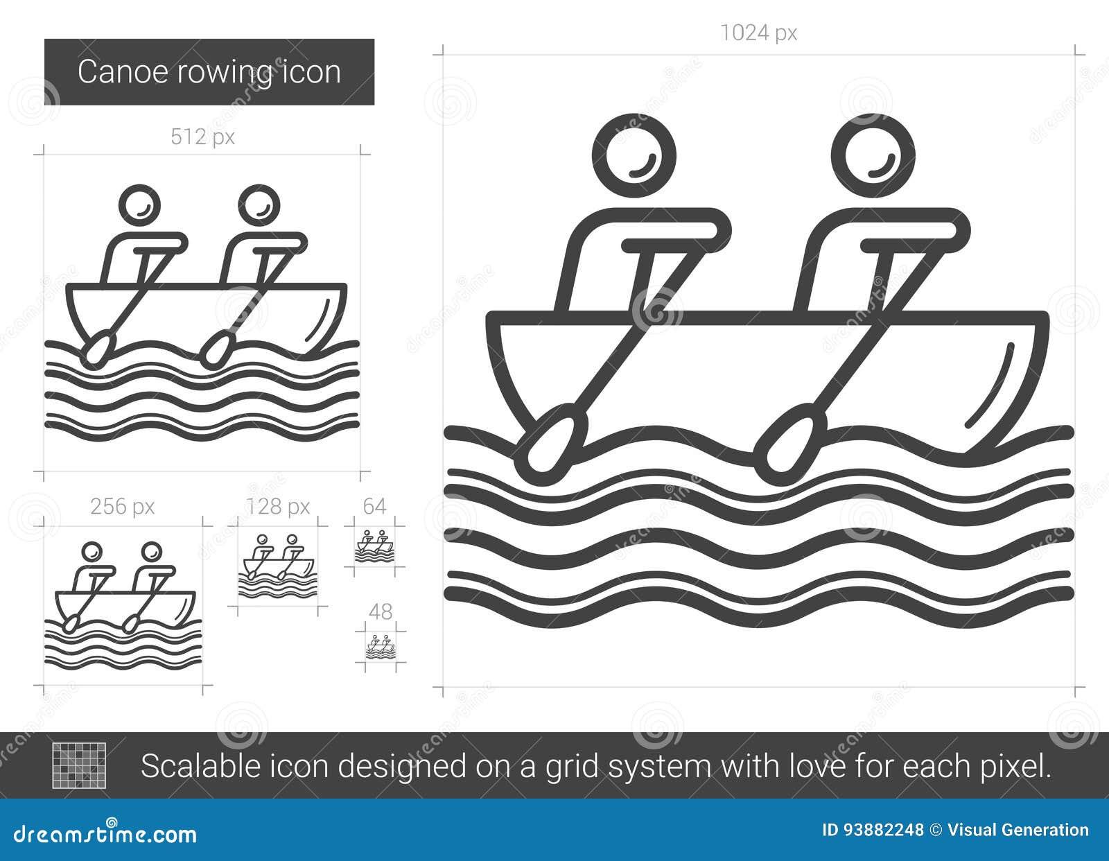 Linha ícone do enfileiramento da canoa