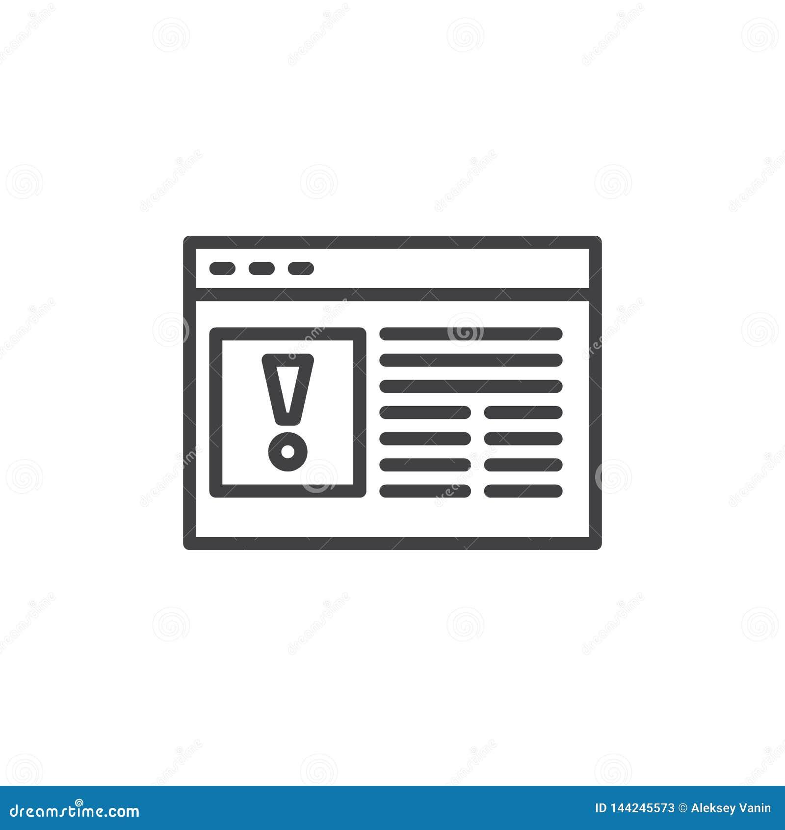 Linha ícone do erro do página da web