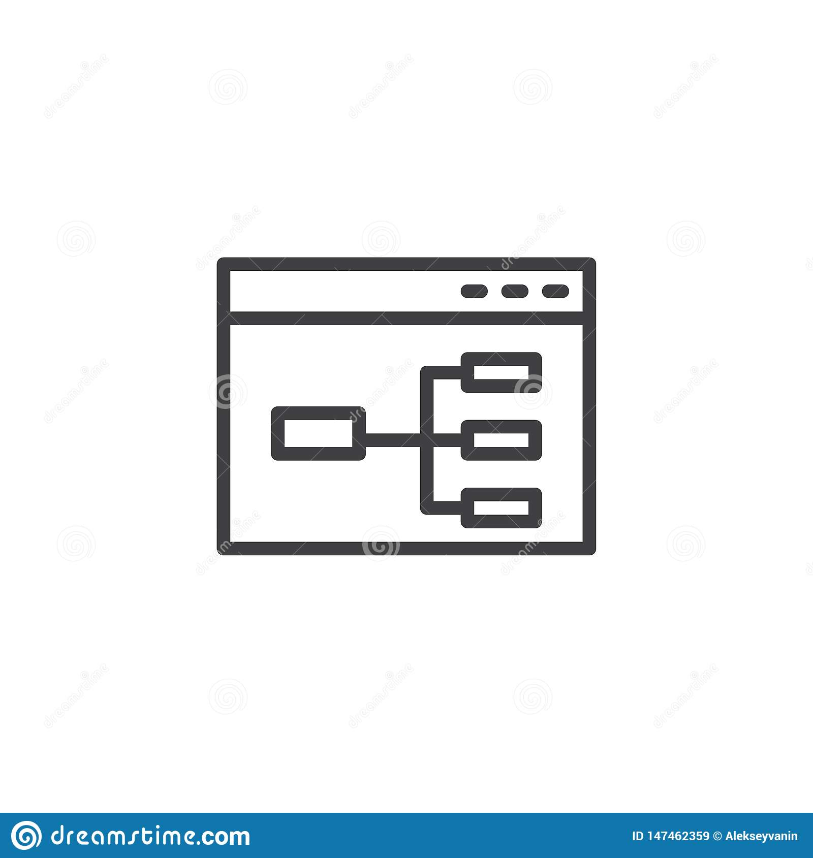 Linha ícone do fluxograma do Web site