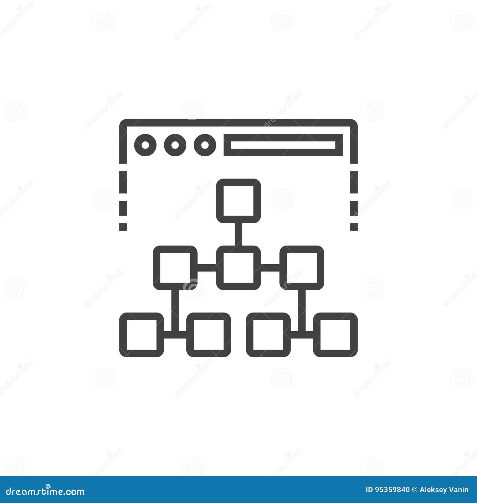 Linha ícone do mapa do site, sinal do vetor do esboço, isolat linear do pictograma