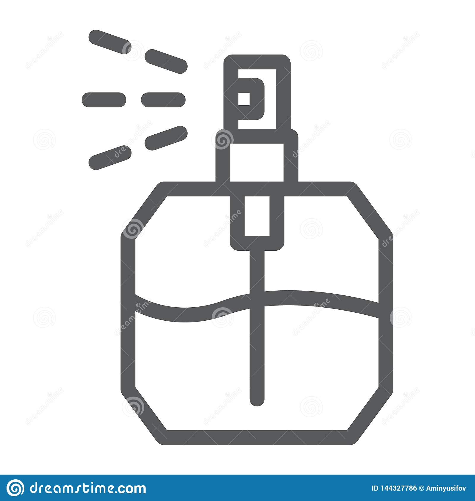 Linha ícone do perfume, fragrância e cosmético, sinal do aroma, gráficos de vetor, um teste padrão linear em um fundo branco