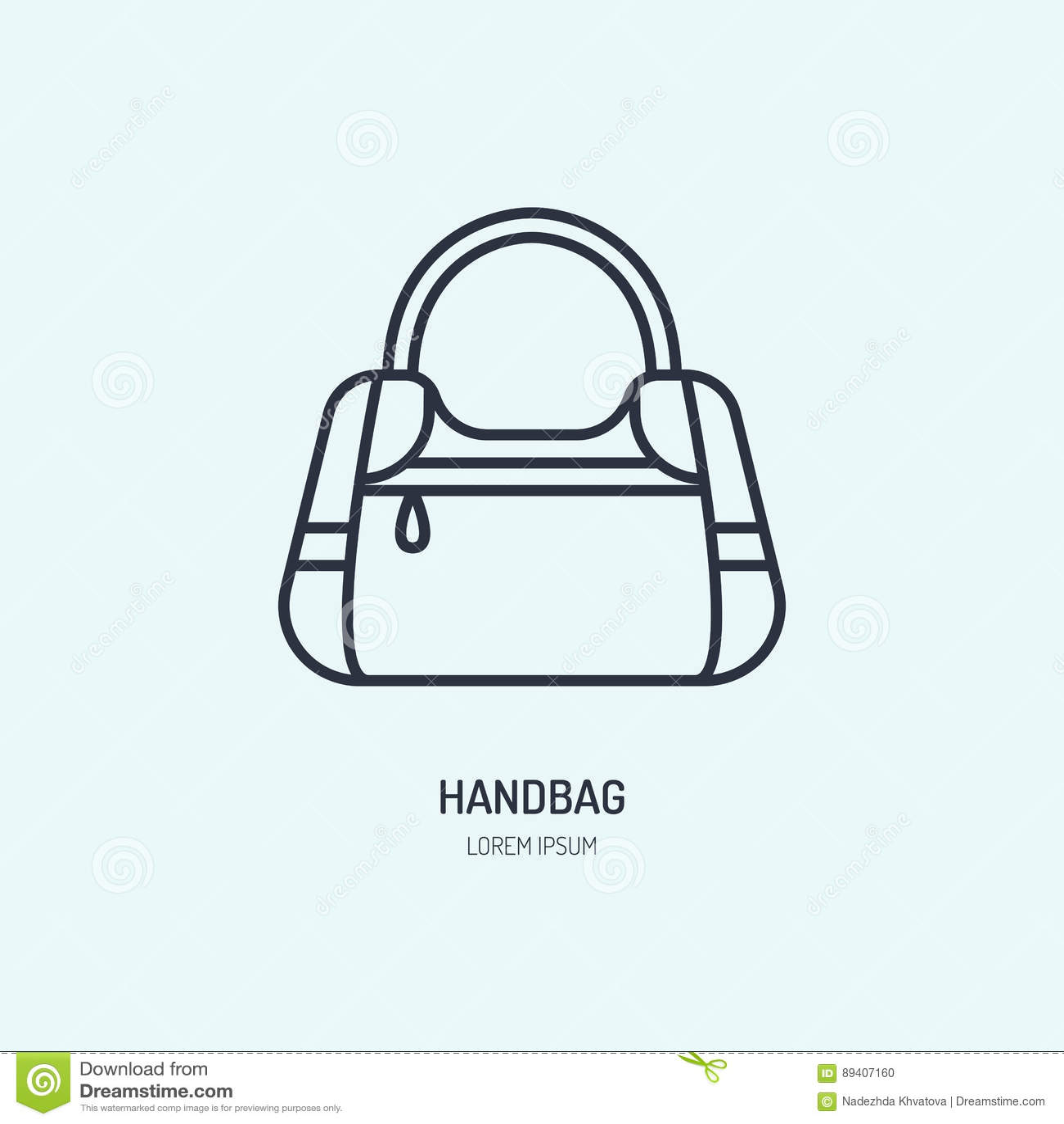 Linha ícone do reparo da bolsa, logotipo Sinal do plano de serviço da limpeza do saco de couro, ilustração das mulheres acessória