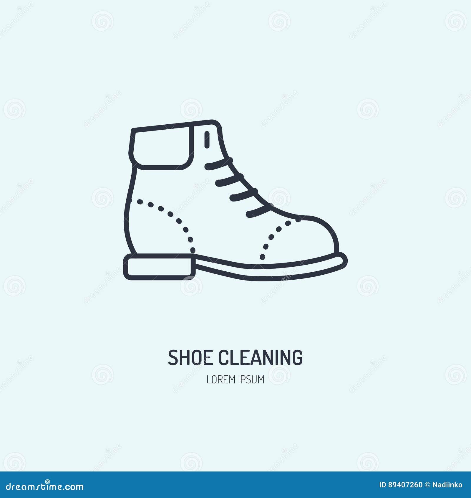 Linha ícone do reparo das sapatas, logotipo do brilho da sapata As botas de couro que limpam o plano de serviço assinam, ilustraç