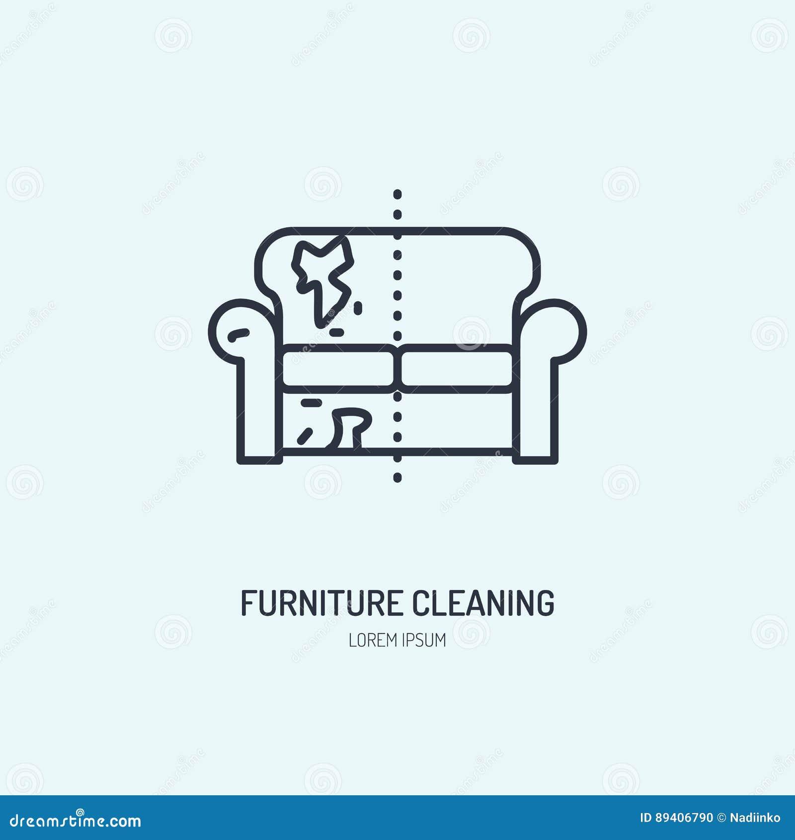 Linha ícone do reparo do sofá, logotipo estofado da tinturaria da mobília Deite o sinal liso, ilustração da casa suja