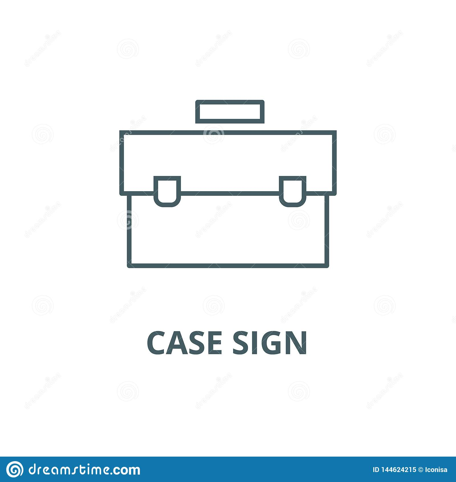 Linha ícone do sinal do caso, vetor Sinal do esboço do sinal do caso, símbolo do conceito, ilustração lisa
