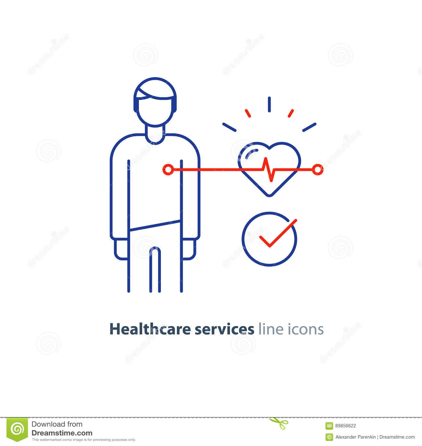 Linha ícone do teste do coração, logotipo do monitor do eletrocardiograma, exame da cardiologia