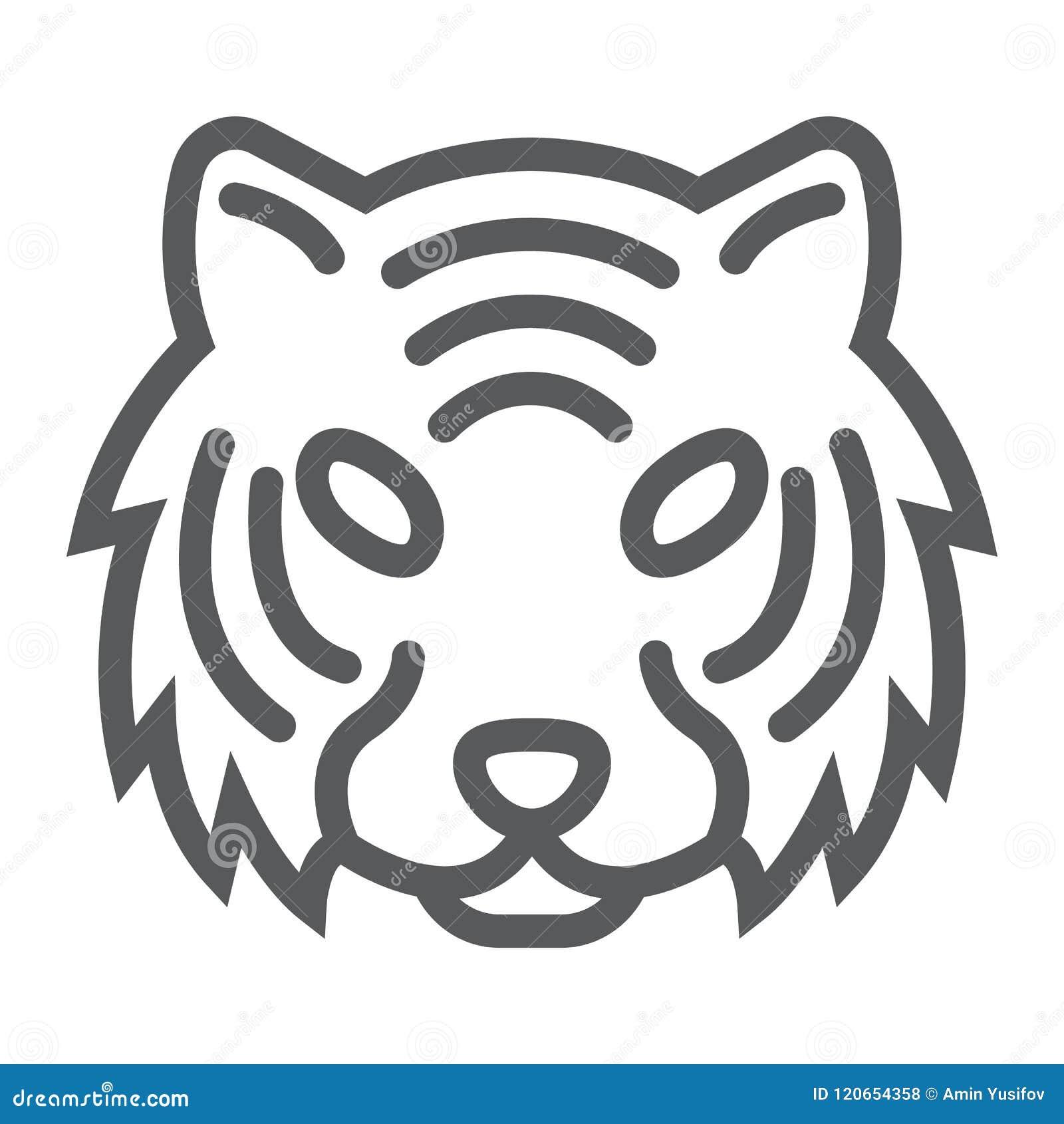 Linha ícone do tigre, animal e jardim zoológico, sinal do gato