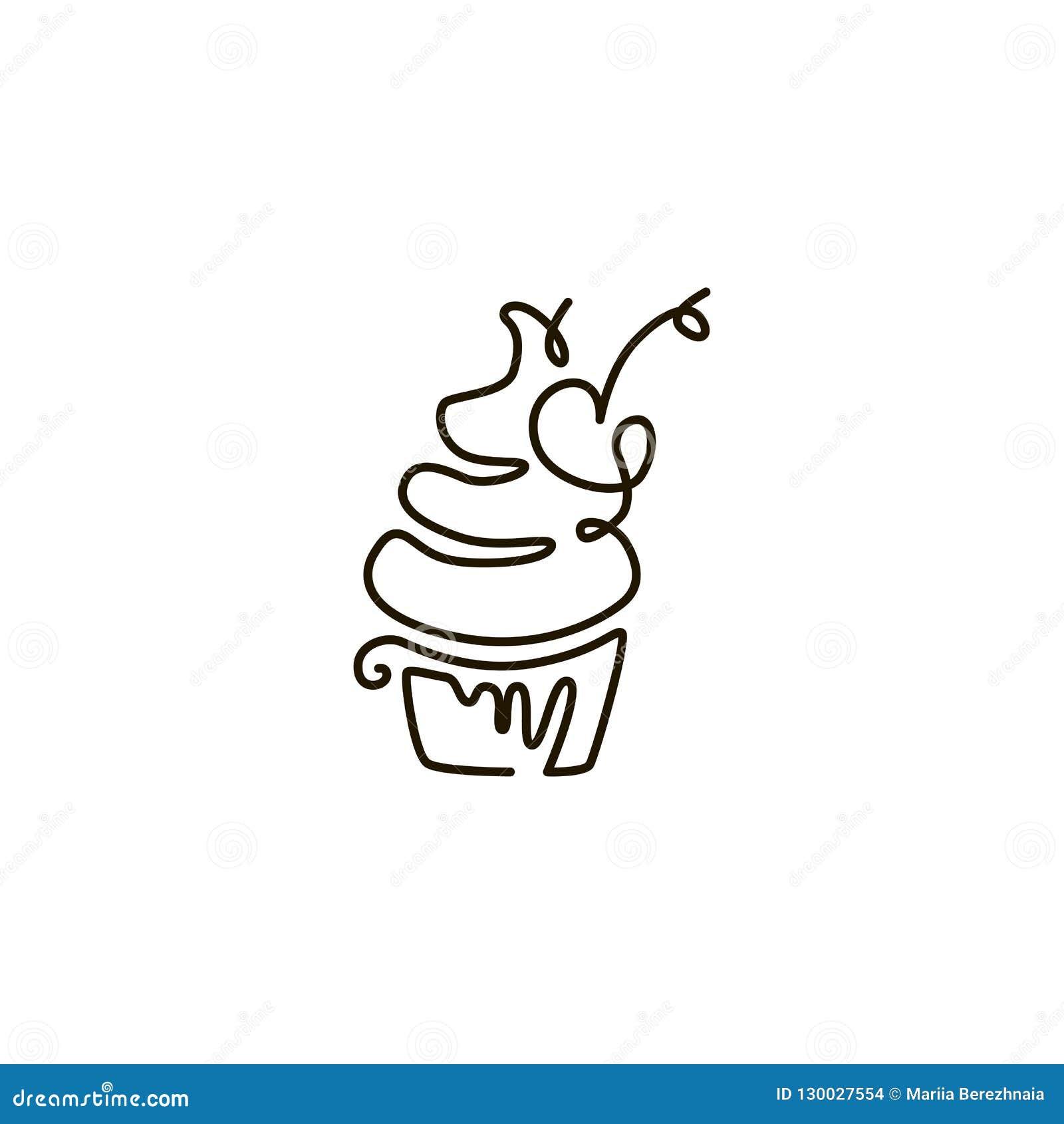 Linha ícone do vetor cupcake Um a lápis desenho Isolado no fundo branco