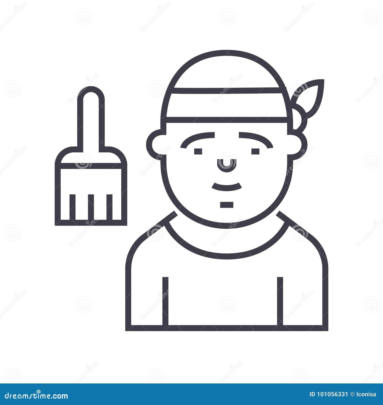 Linha ícone do vetor do decorador, sinal, ilustração no fundo, cursos editáveis
