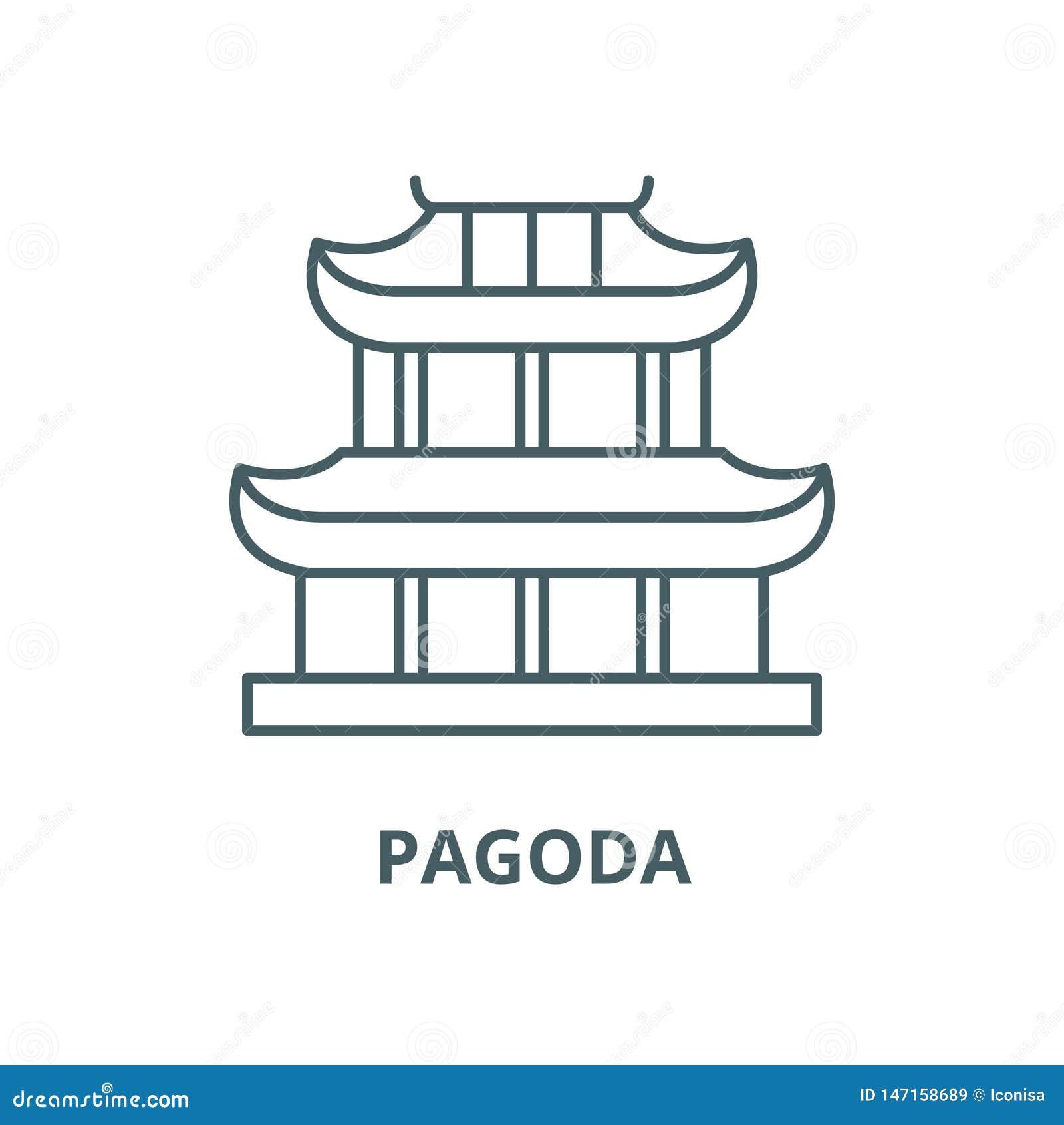 Linha ícone do vetor do pagode, conceito linear, sinal do esboço, símbolo