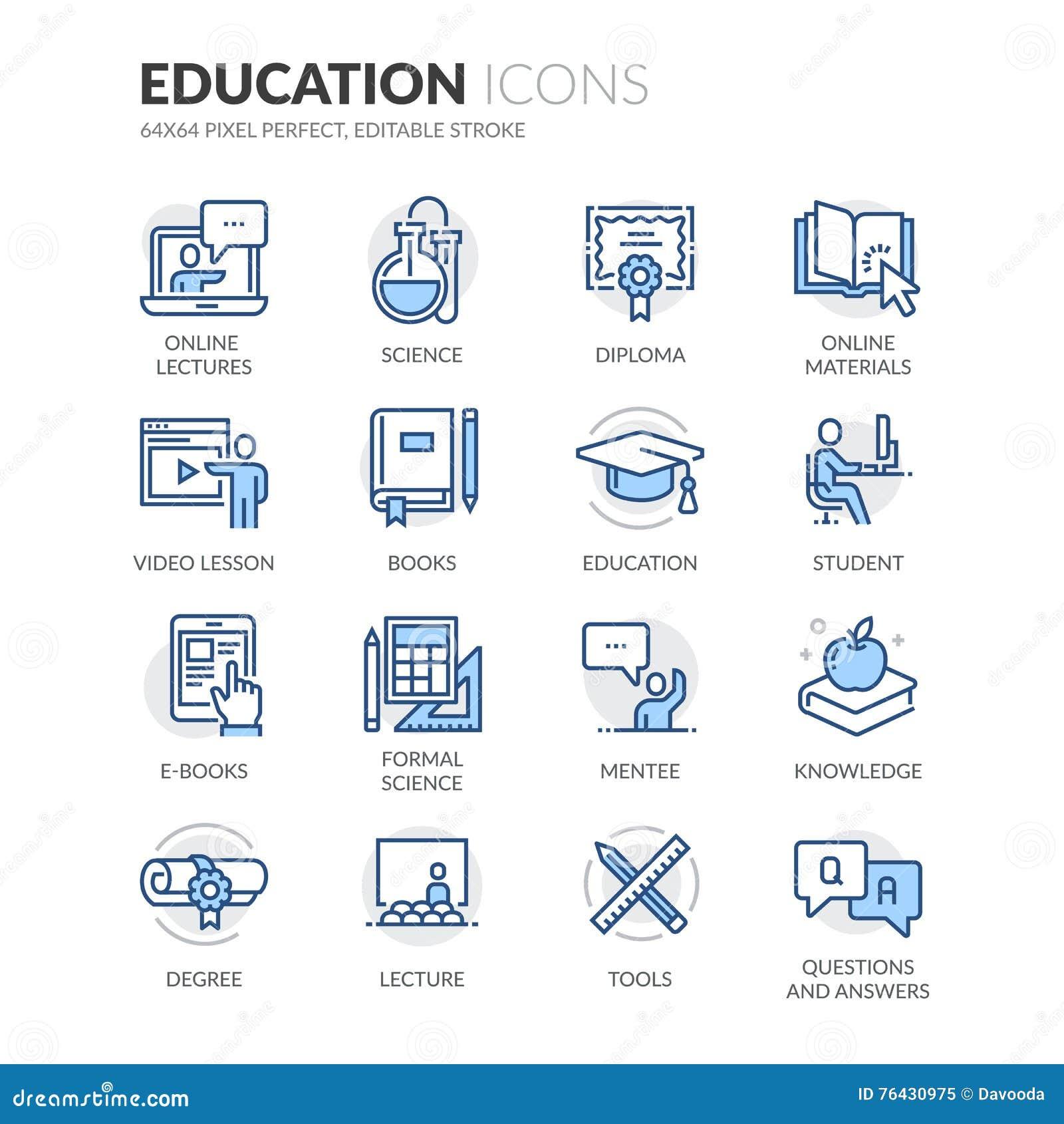 Linha ícones da educação