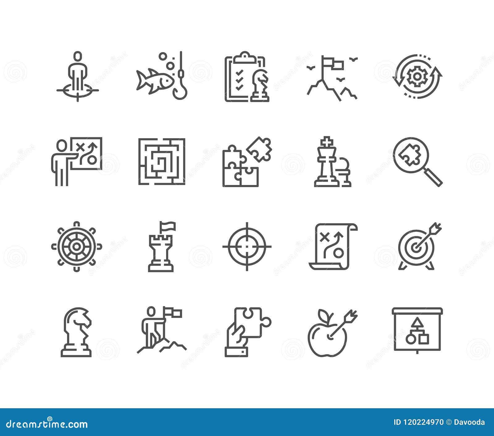 Linha ícones da estratégia empresarial