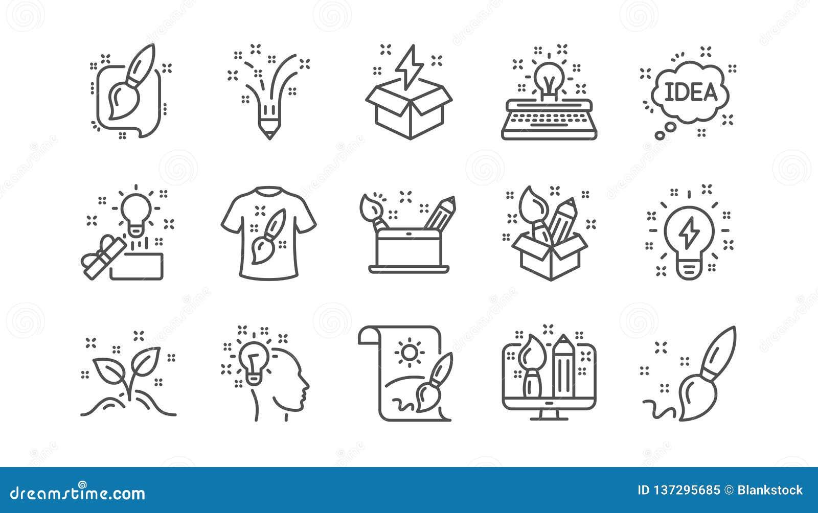 Linha ícones da faculdade criadora Desenhista criativo, ideia e inspiração Grupo linear do ícone Vetor