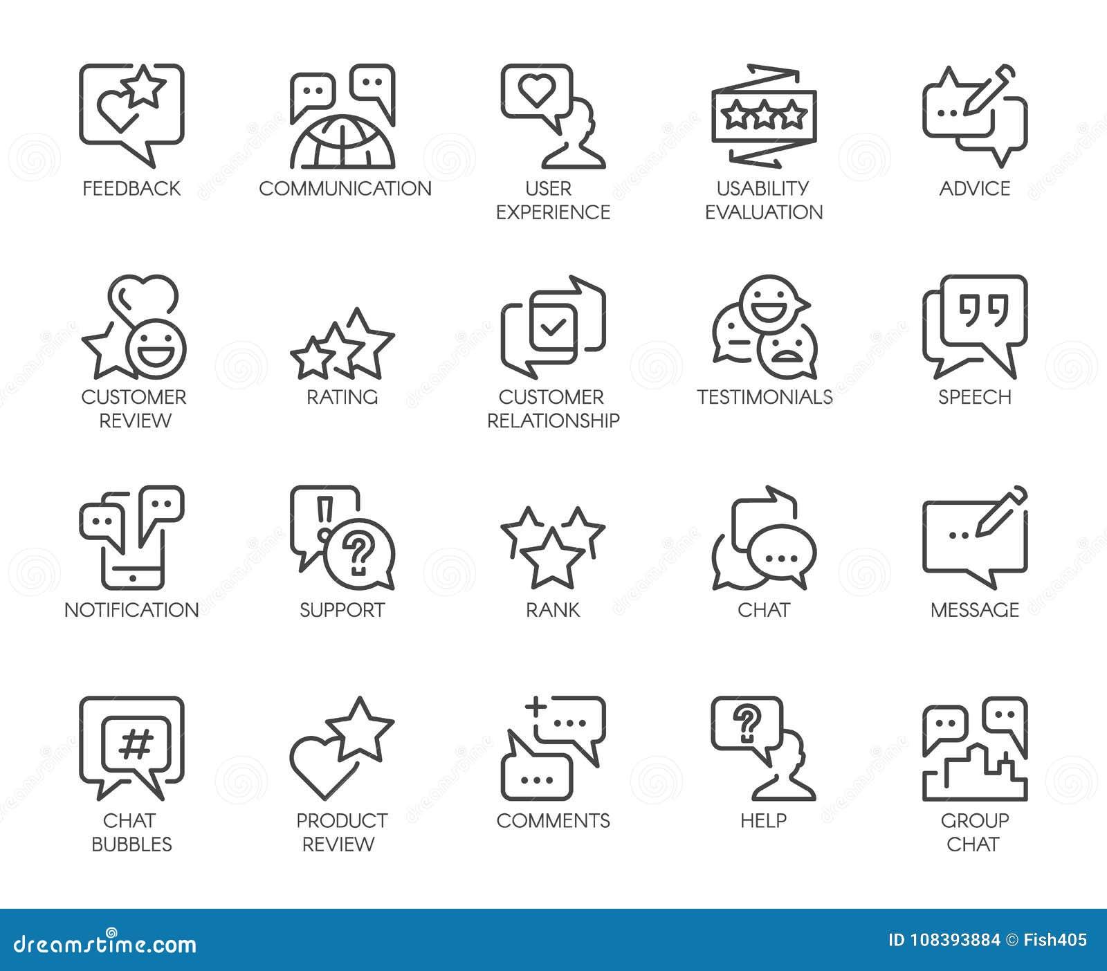 Linha ícones da revisão 20 isolados Os comentários ou o bate-papo da mensagem borbulham, avaliação da usabilidade, uma comunicaçã