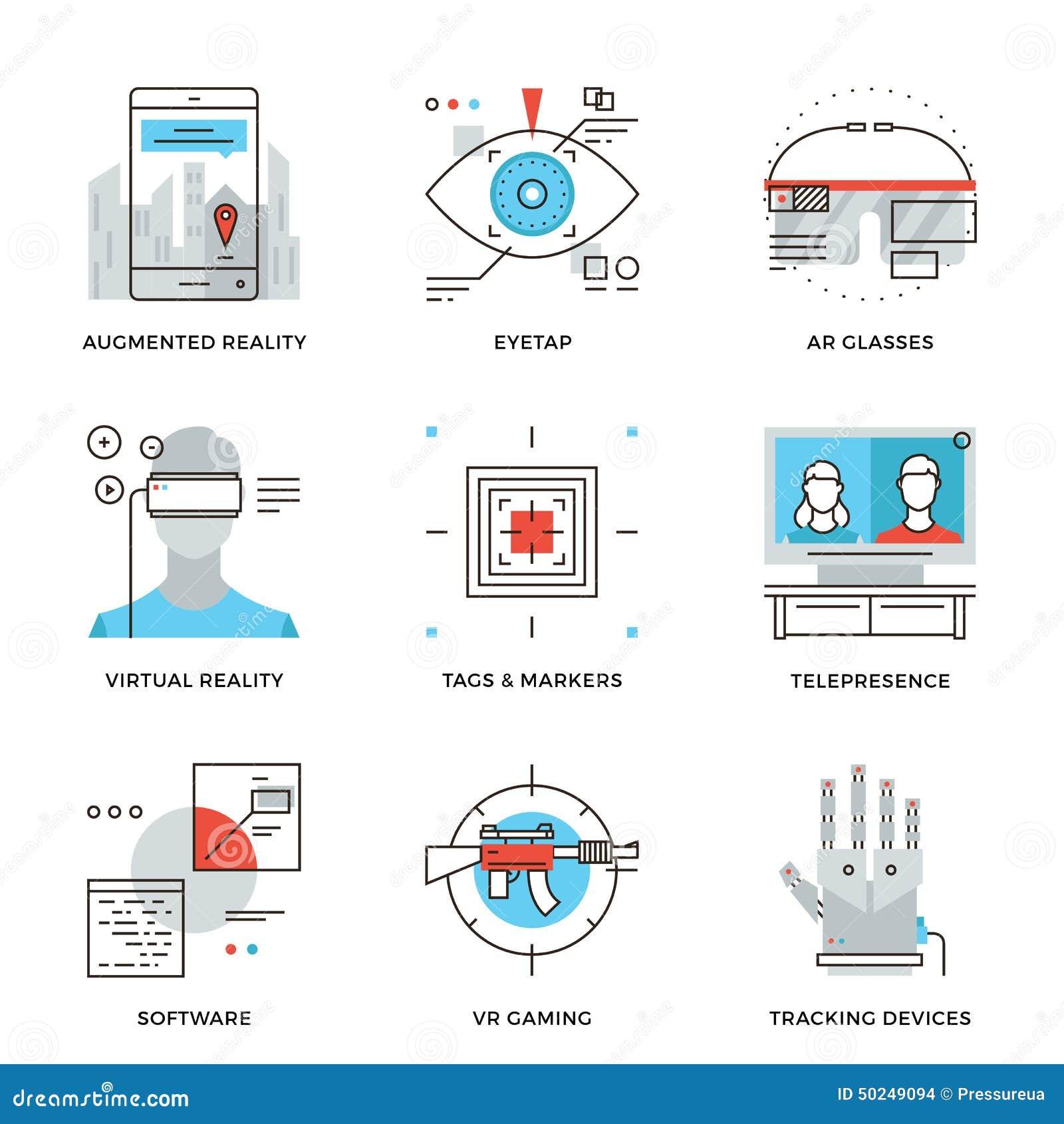 Linha ícones da tecnologia da realidade virtual ajustados