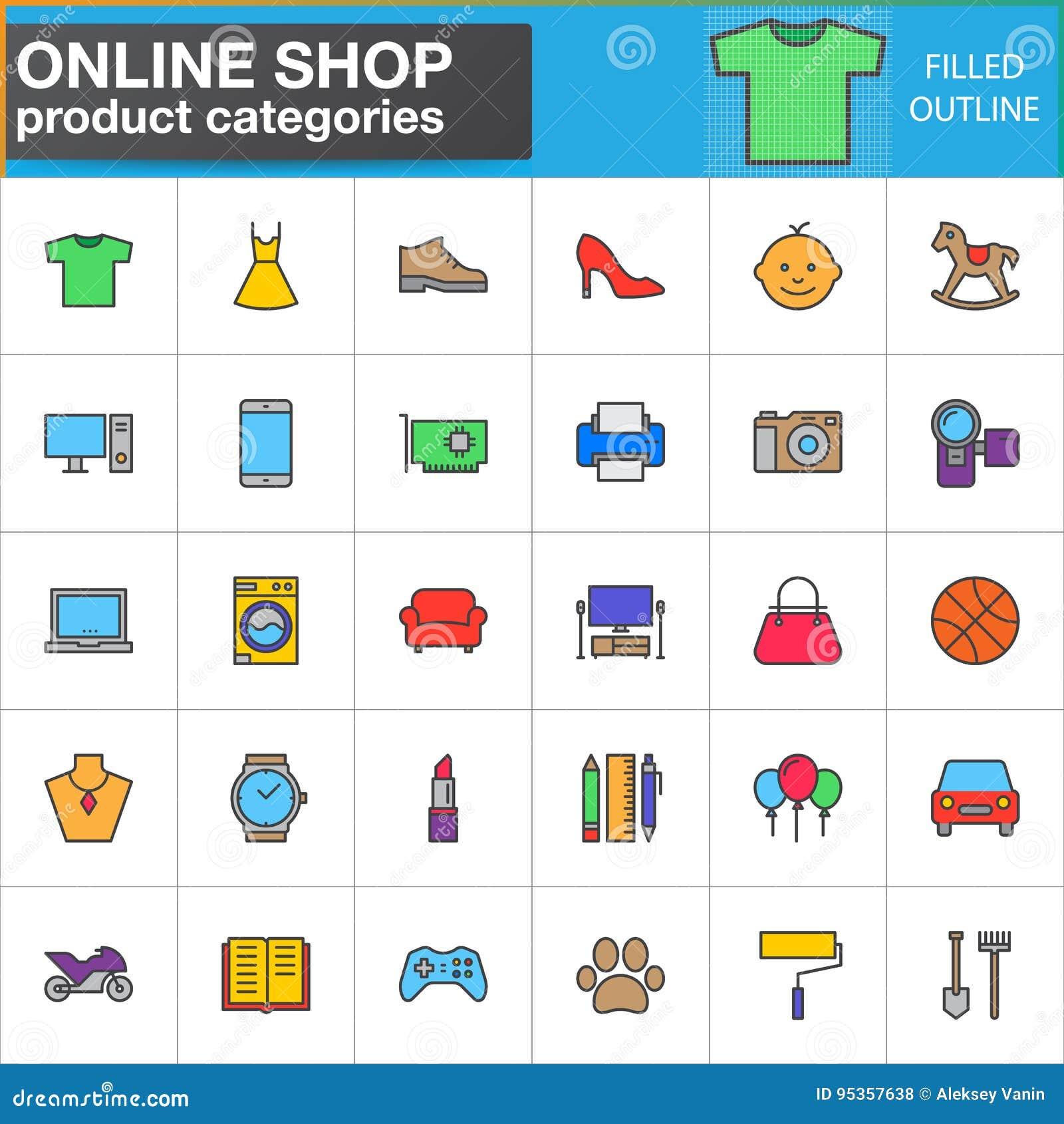 A linha ícones das categorias de produto da loja ajustou-se, coleção enchida do símbolo do vetor do esboço, bloco linear do picto
