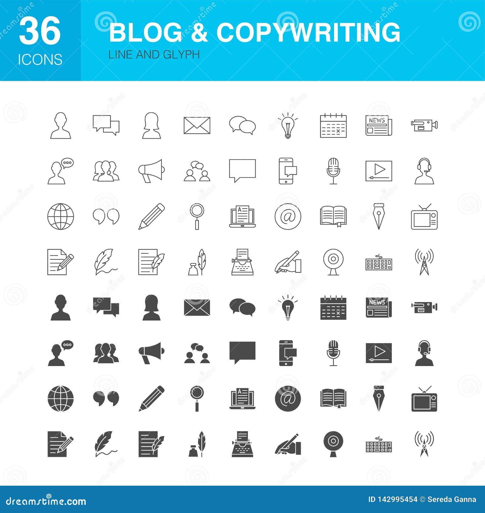 Linha ícones do blogue do Glyph da Web
