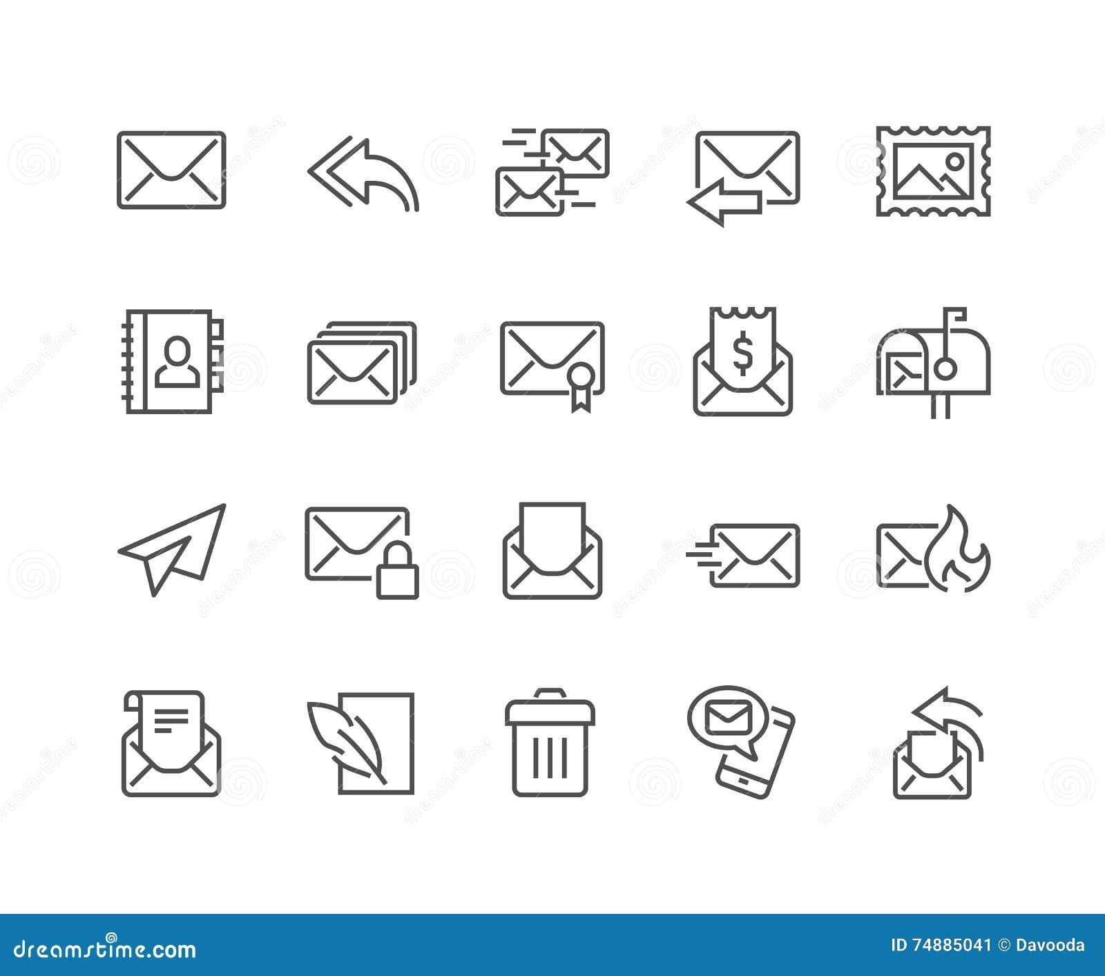 Linha ícones do correio